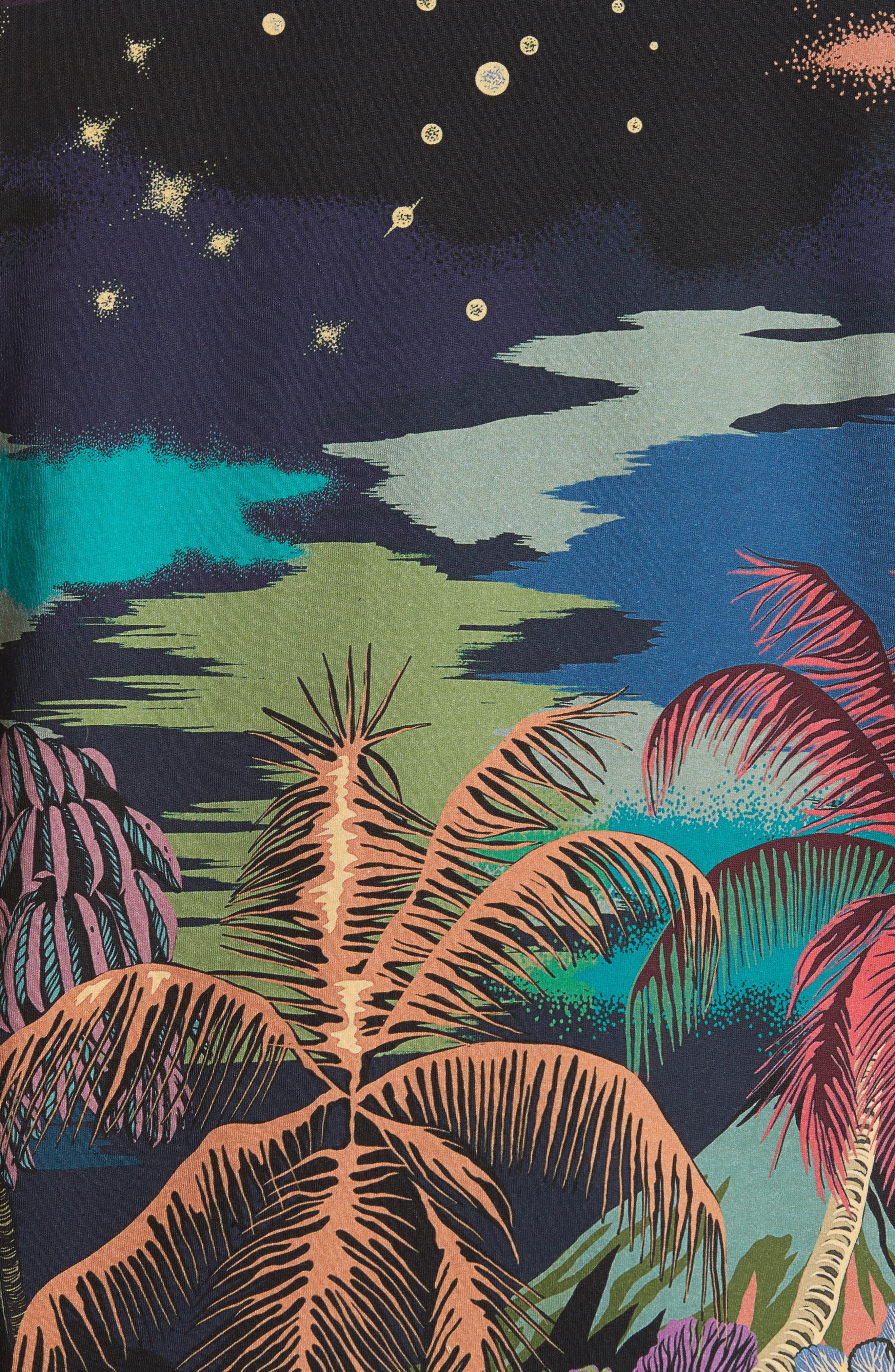 Palm Tree Print T-Shirt,                             Alternate thumbnail 5, color,                             400