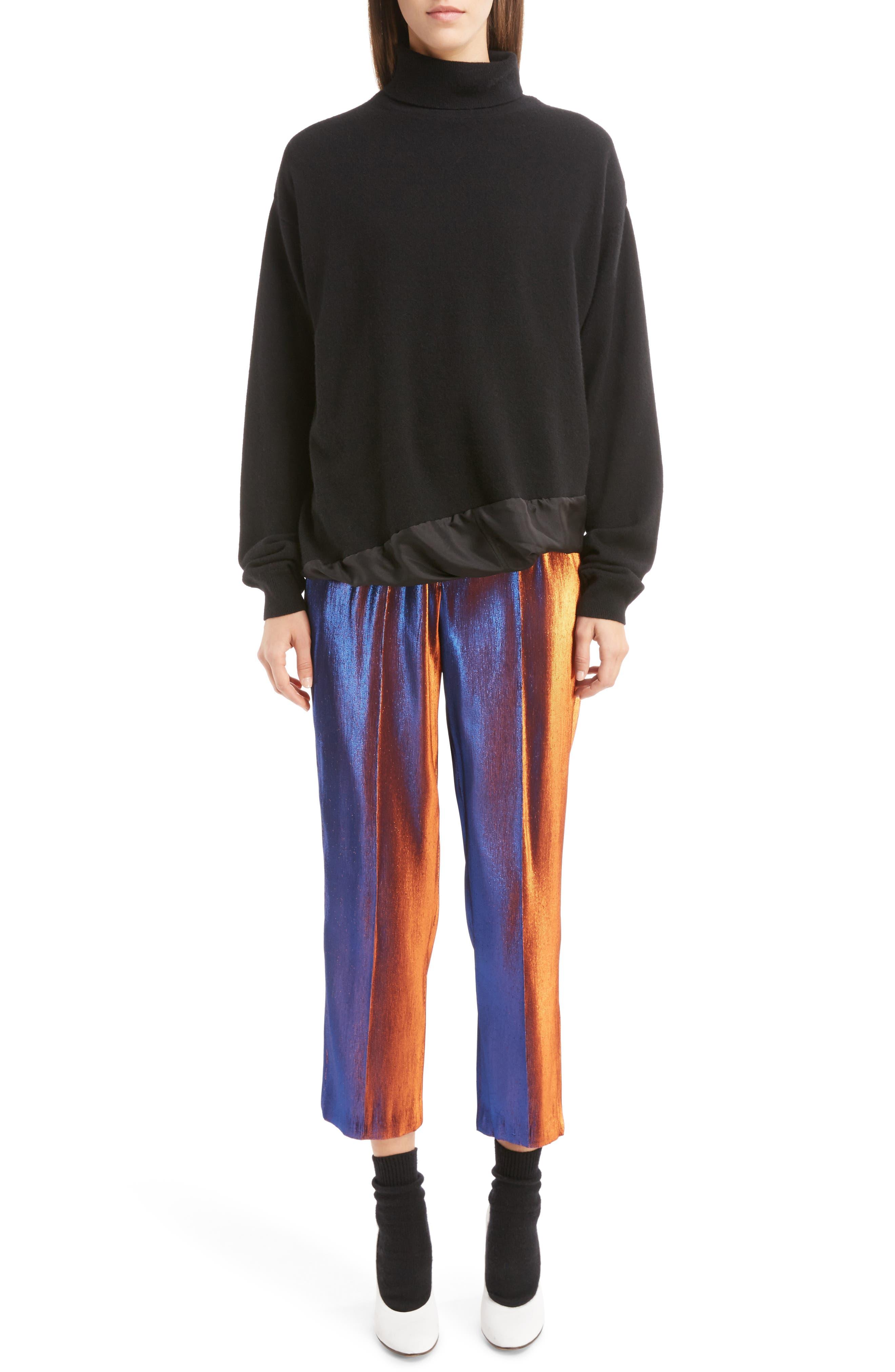 Two-Tone Lamé Crop Trousers,                             Alternate thumbnail 6, color,                             800