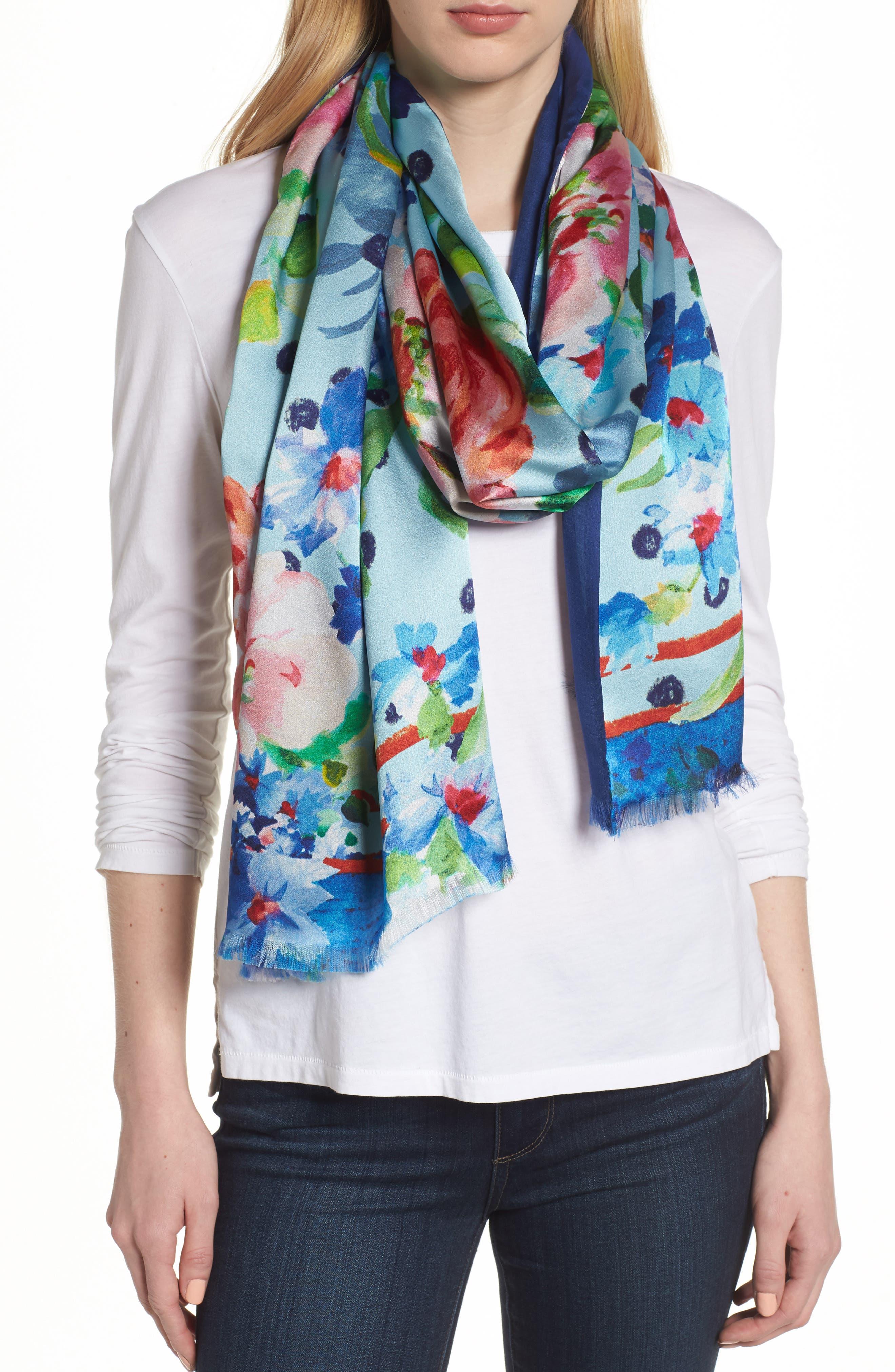 Springtime Double-Face Silk Scarf,                             Main thumbnail 2, color,