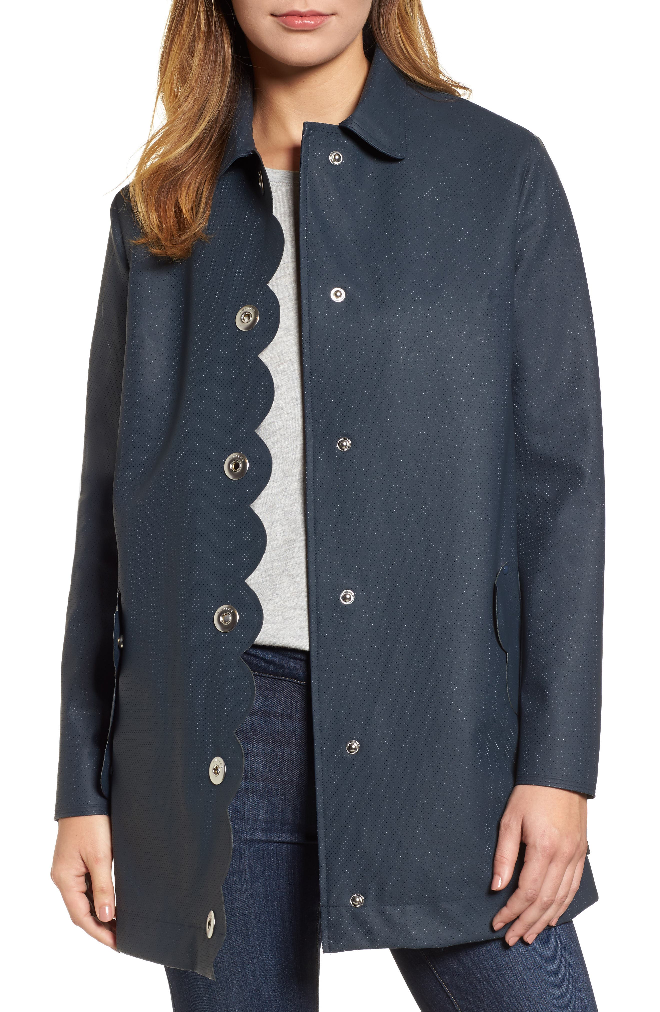 Refined Perforated A-Line Coat,                             Main thumbnail 1, color,                             410