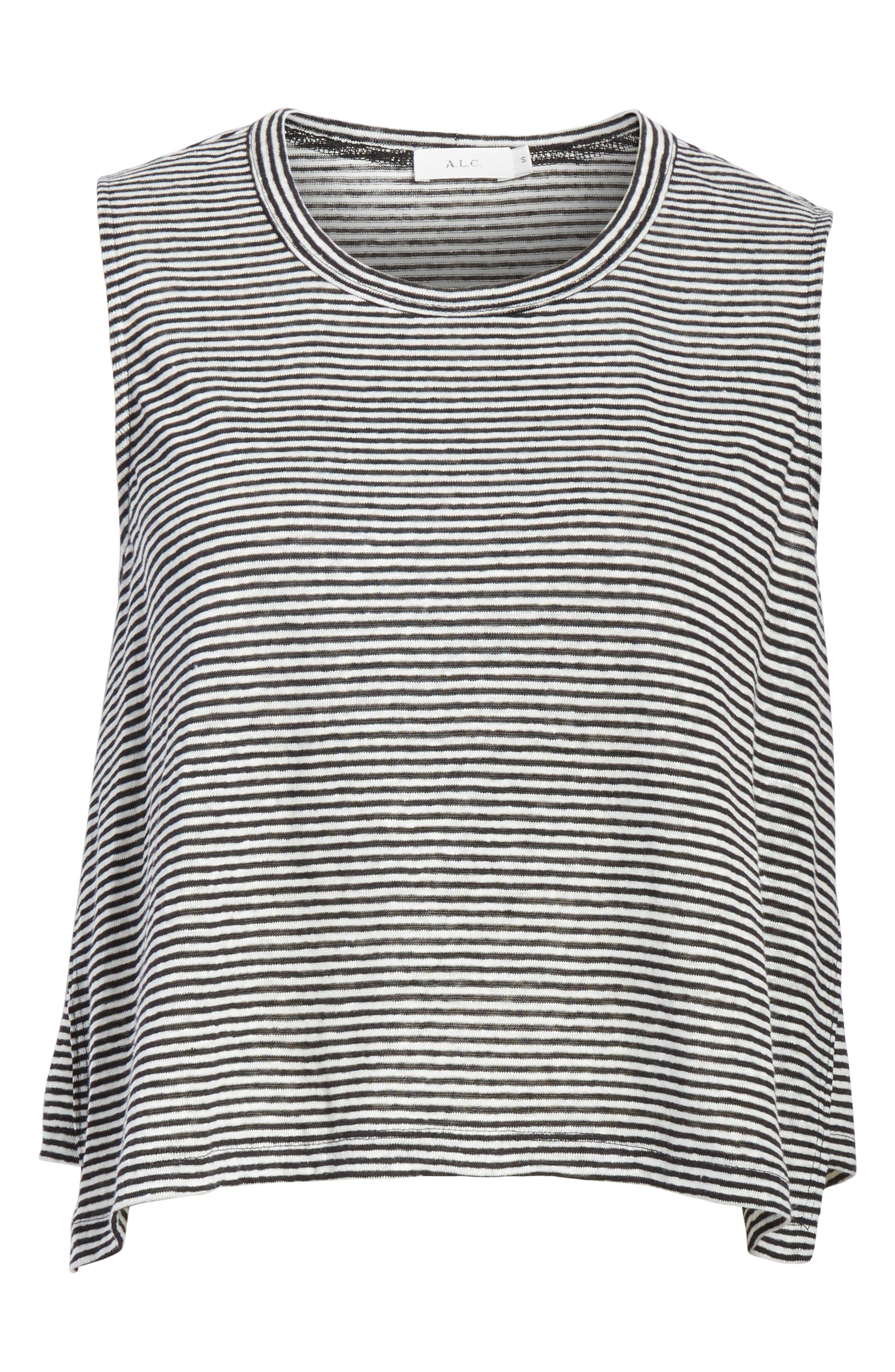 Ines Stripe Linen Crop Tee,                             Alternate thumbnail 6, color,                             BLACK/ WHITE