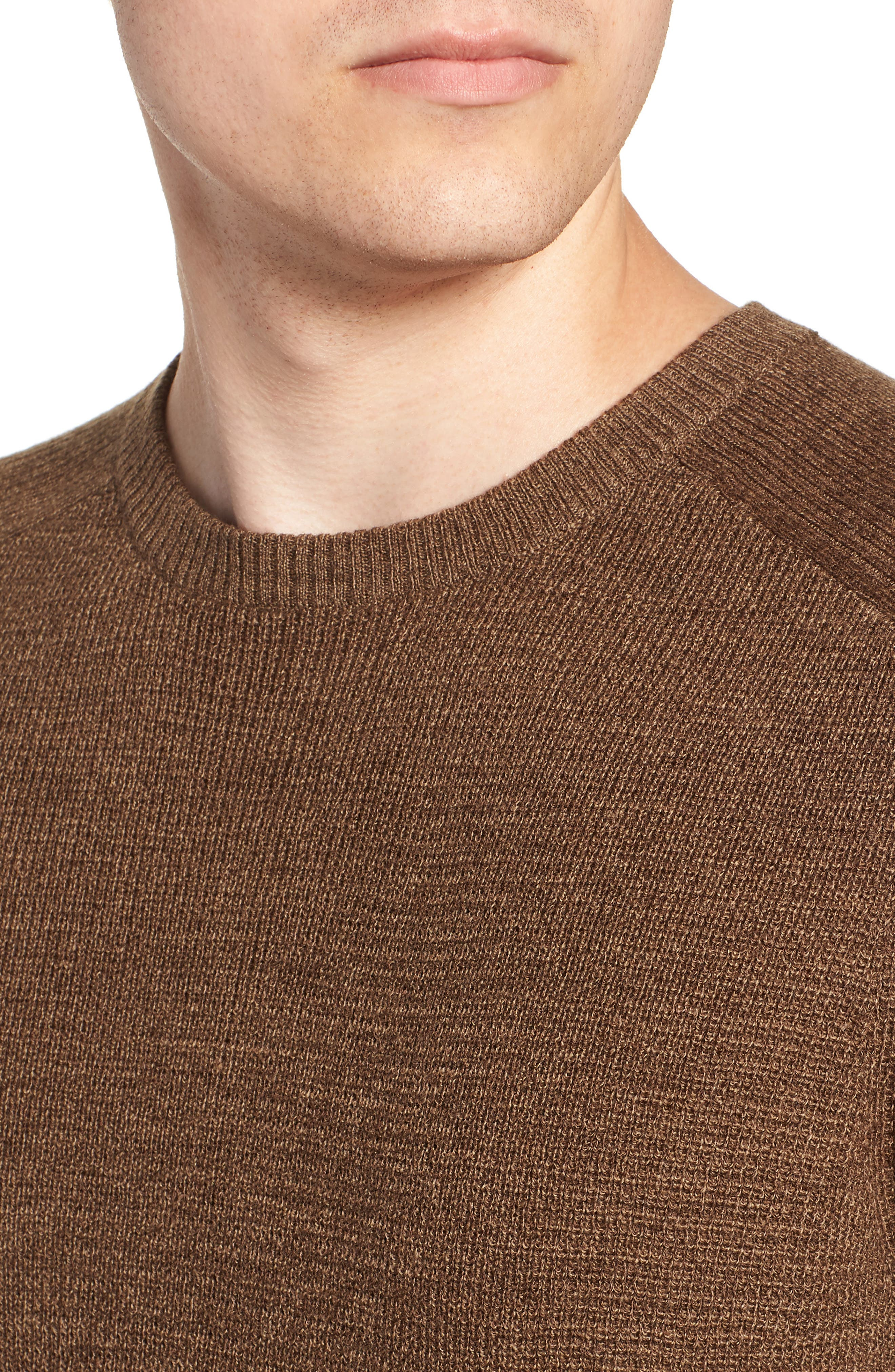 Crewneck Wool Blend Sweater,                             Alternate thumbnail 4, color,                             BROWN MAJOR