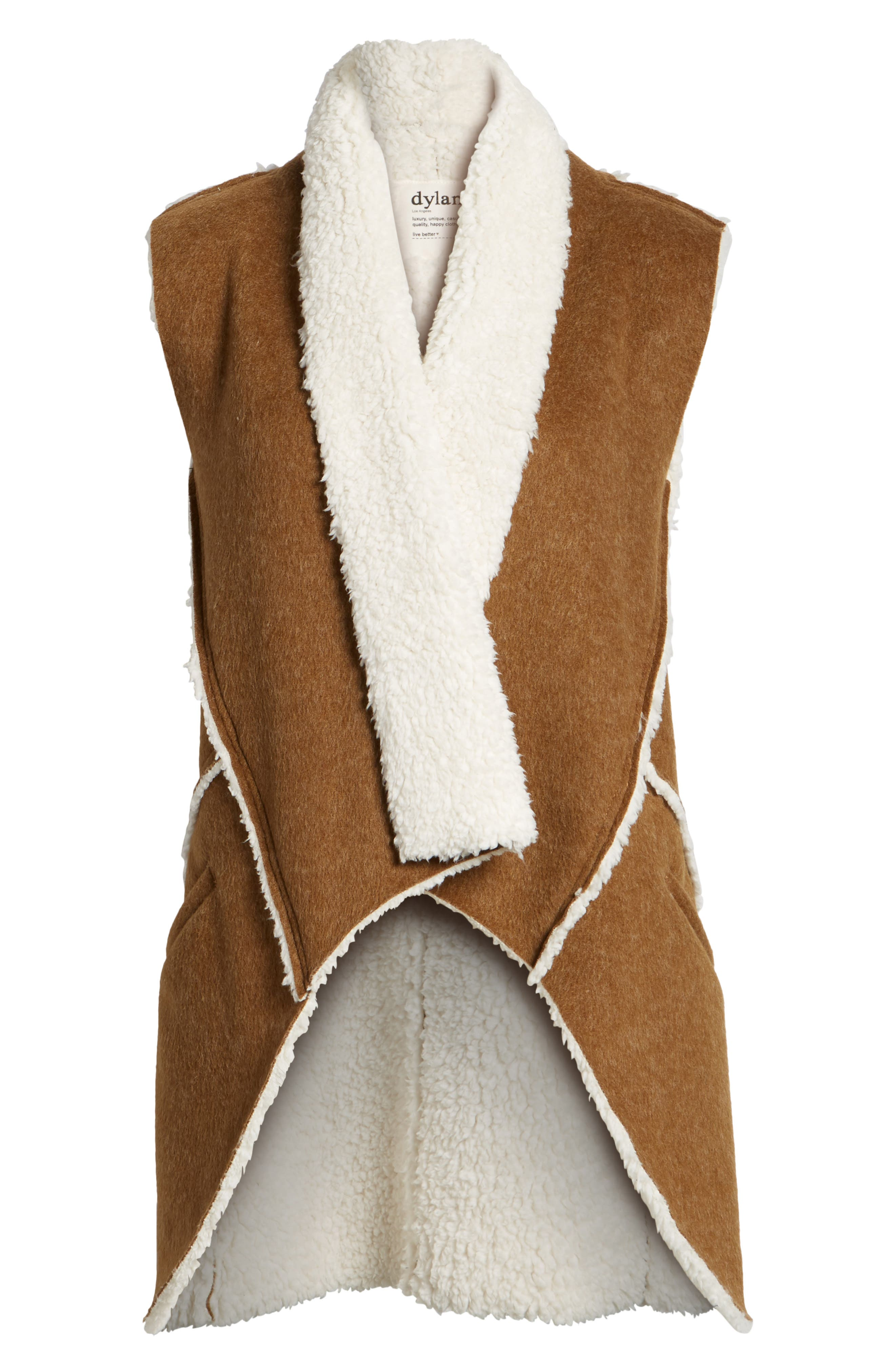 Flannel Faux Shearling Vest,                             Alternate thumbnail 5, color,