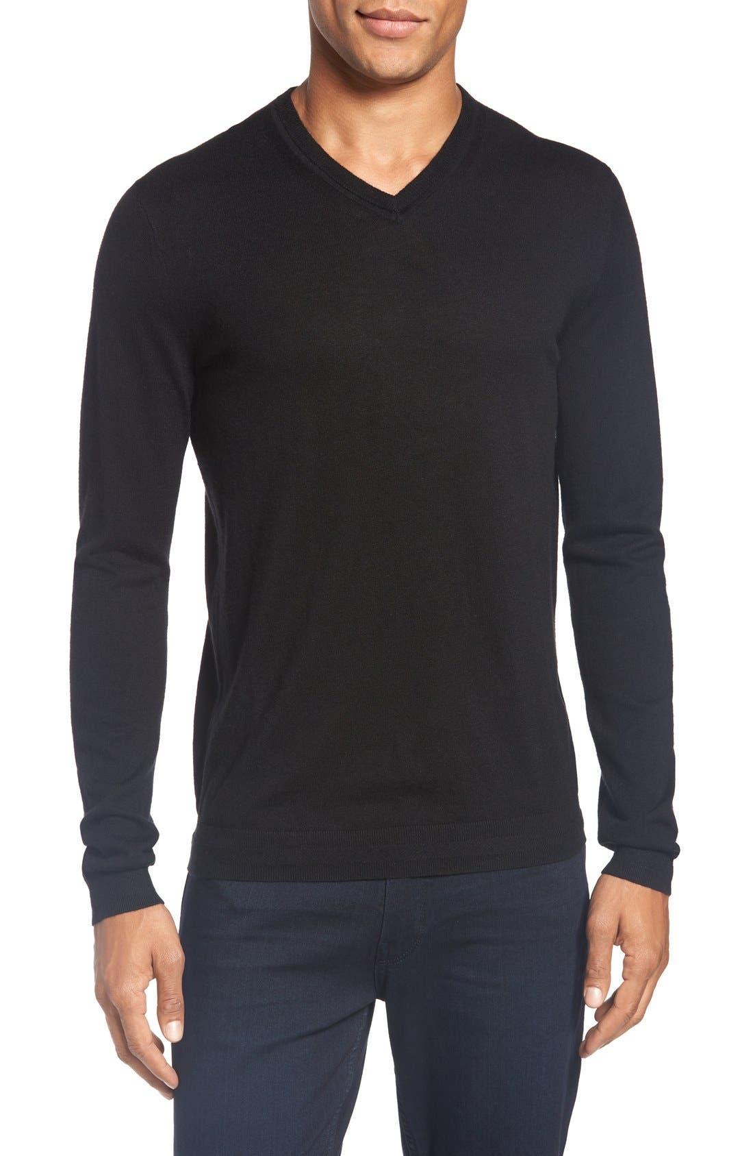 'Cashguy' Trim Fit V-Neck Sweater,                             Main thumbnail 1, color,                             001