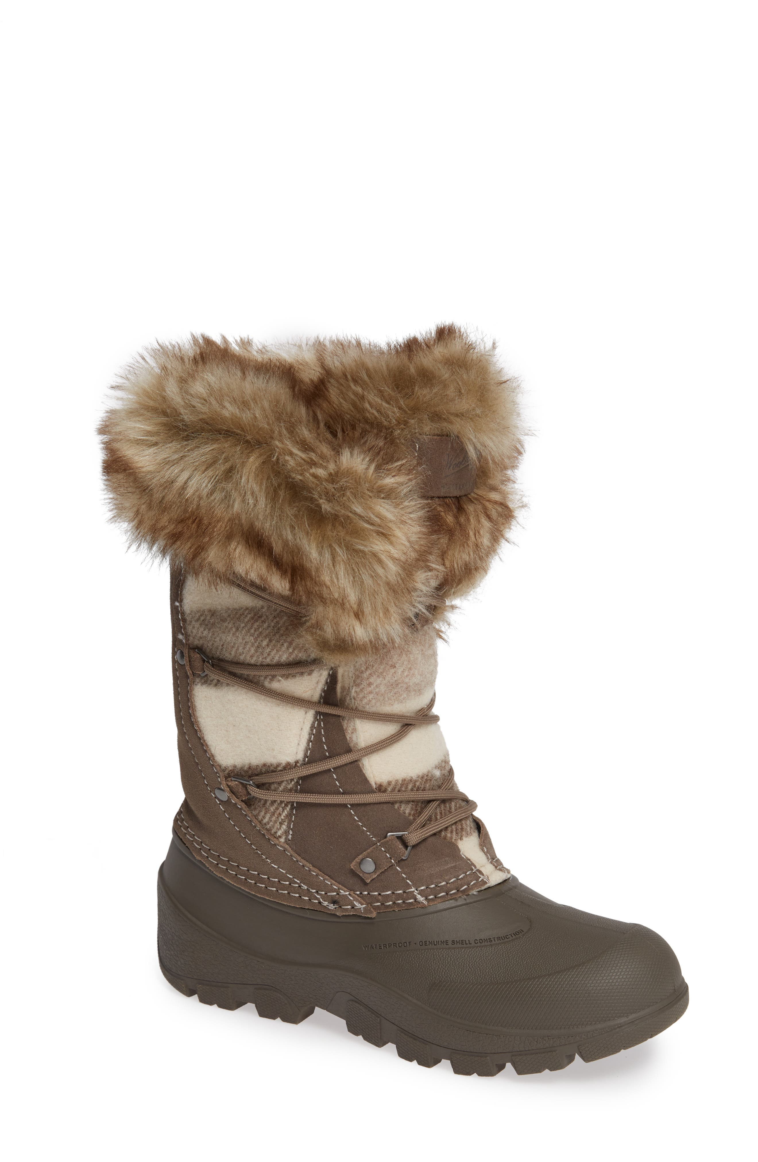Woolrich Ice Cougar Waterproof Knee High Winter Boot With Faux Fur Trim, Beige