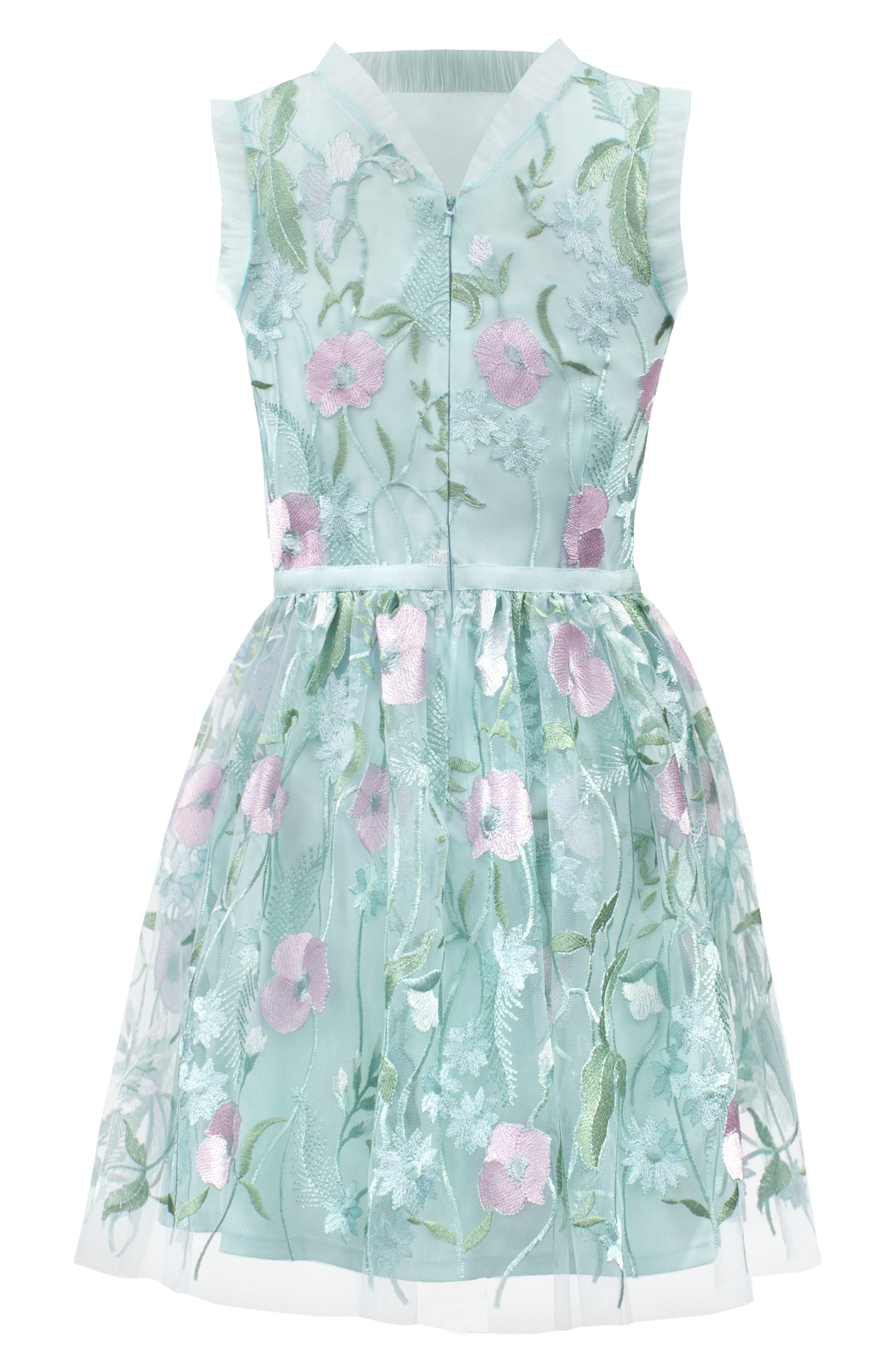Pastel Embroidered Tulle Dress,                             Alternate thumbnail 2, color,                             BLUE
