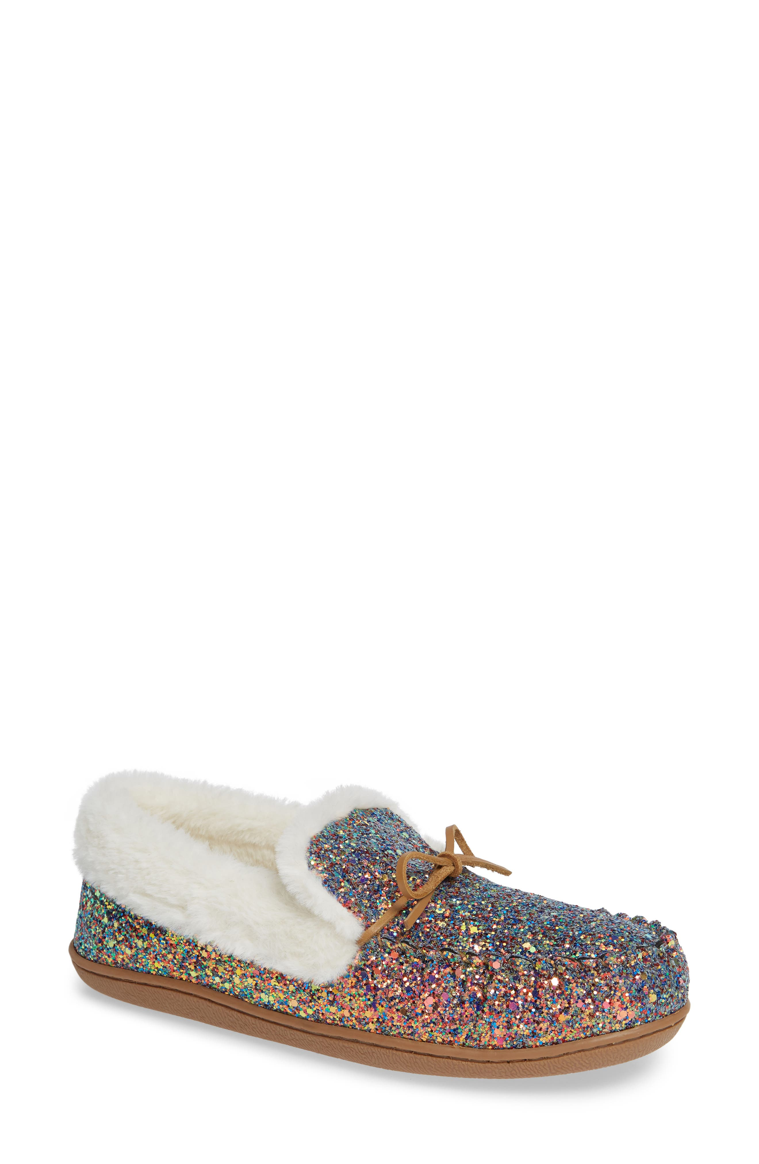 Poppy Moc Slipper,                             Main thumbnail 1, color,                             PINK MULTI GLITTER