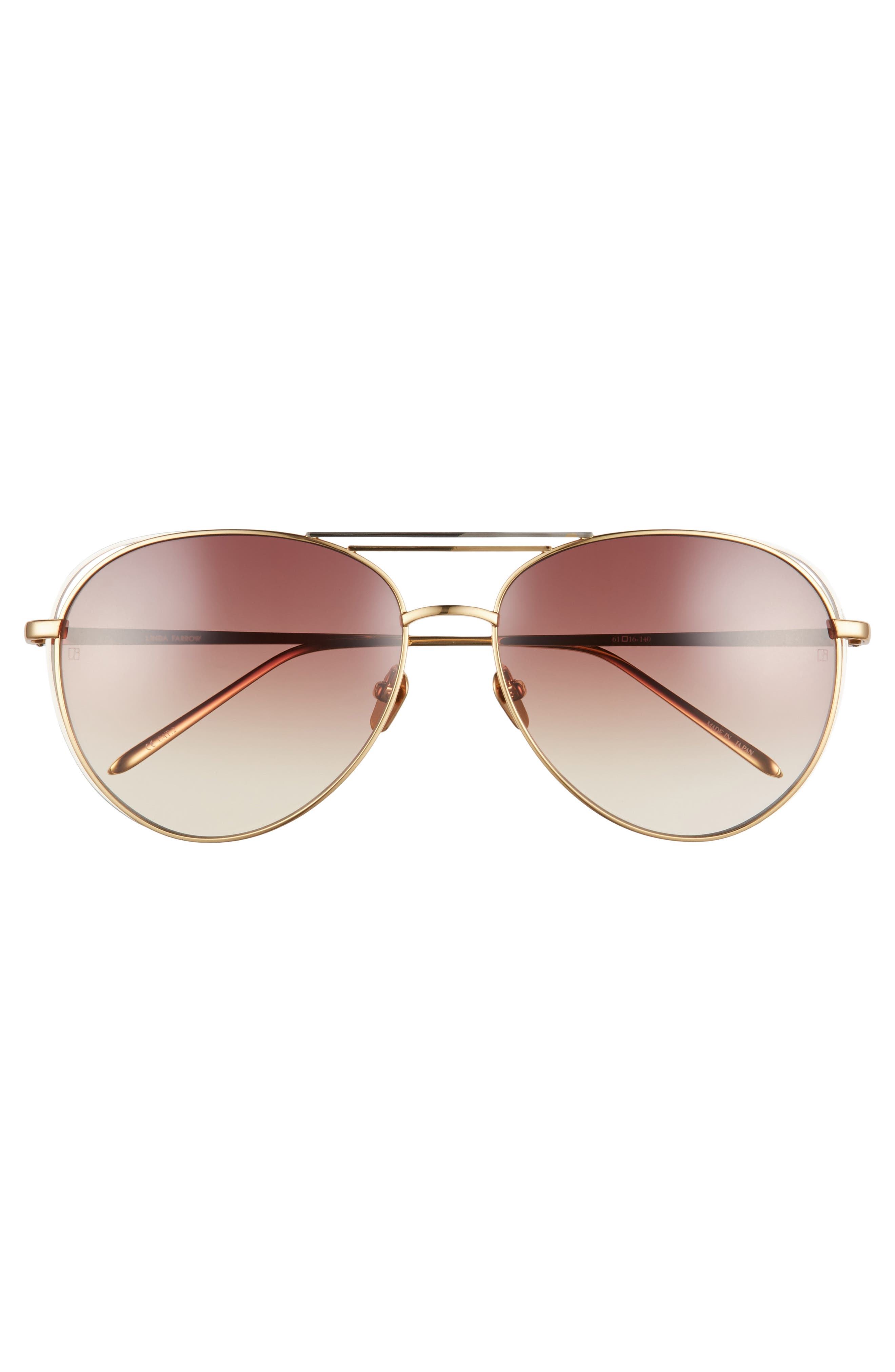 61mm 18 Karat Gold Aviator Sunglasses,                             Alternate thumbnail 8, color,