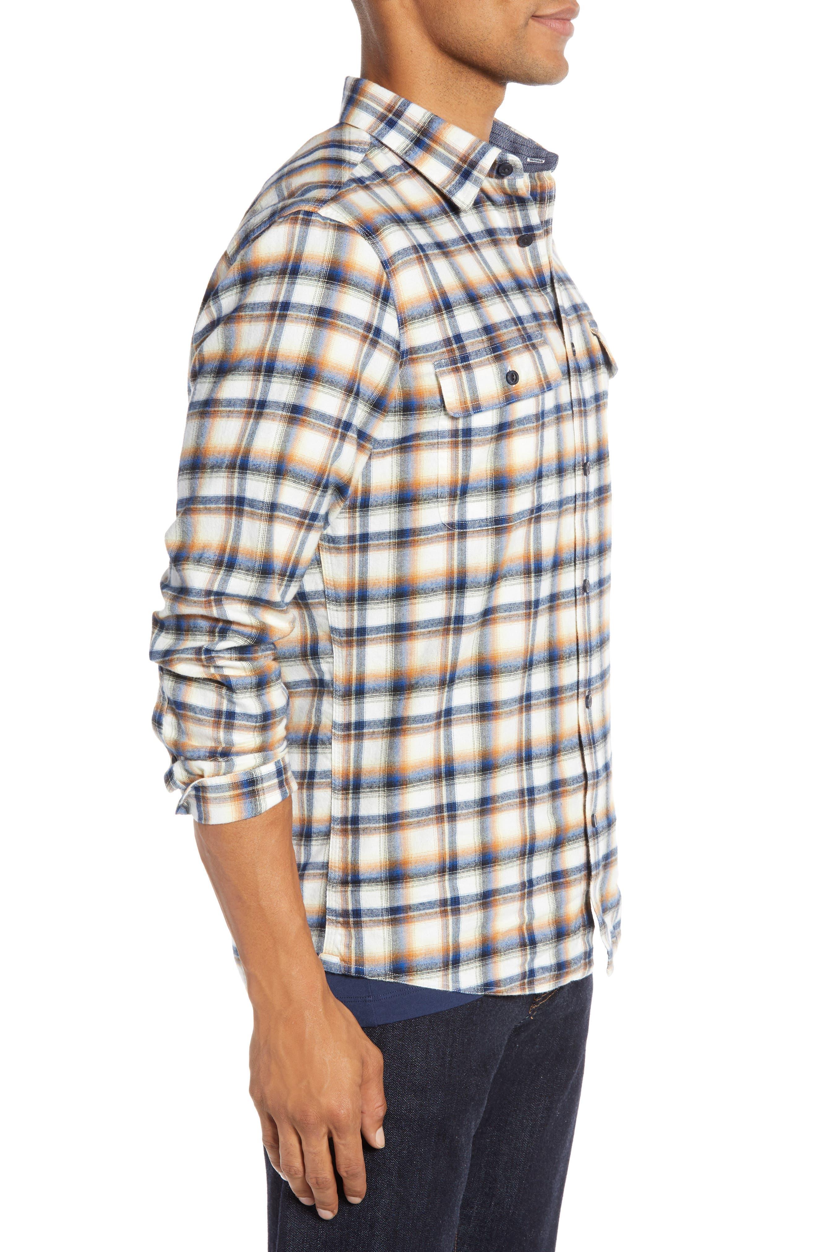 Trim Fit Trucker Plaid Sport Shirt,                             Alternate thumbnail 4, color,                             IVORY BLUE ORANGE PLAID