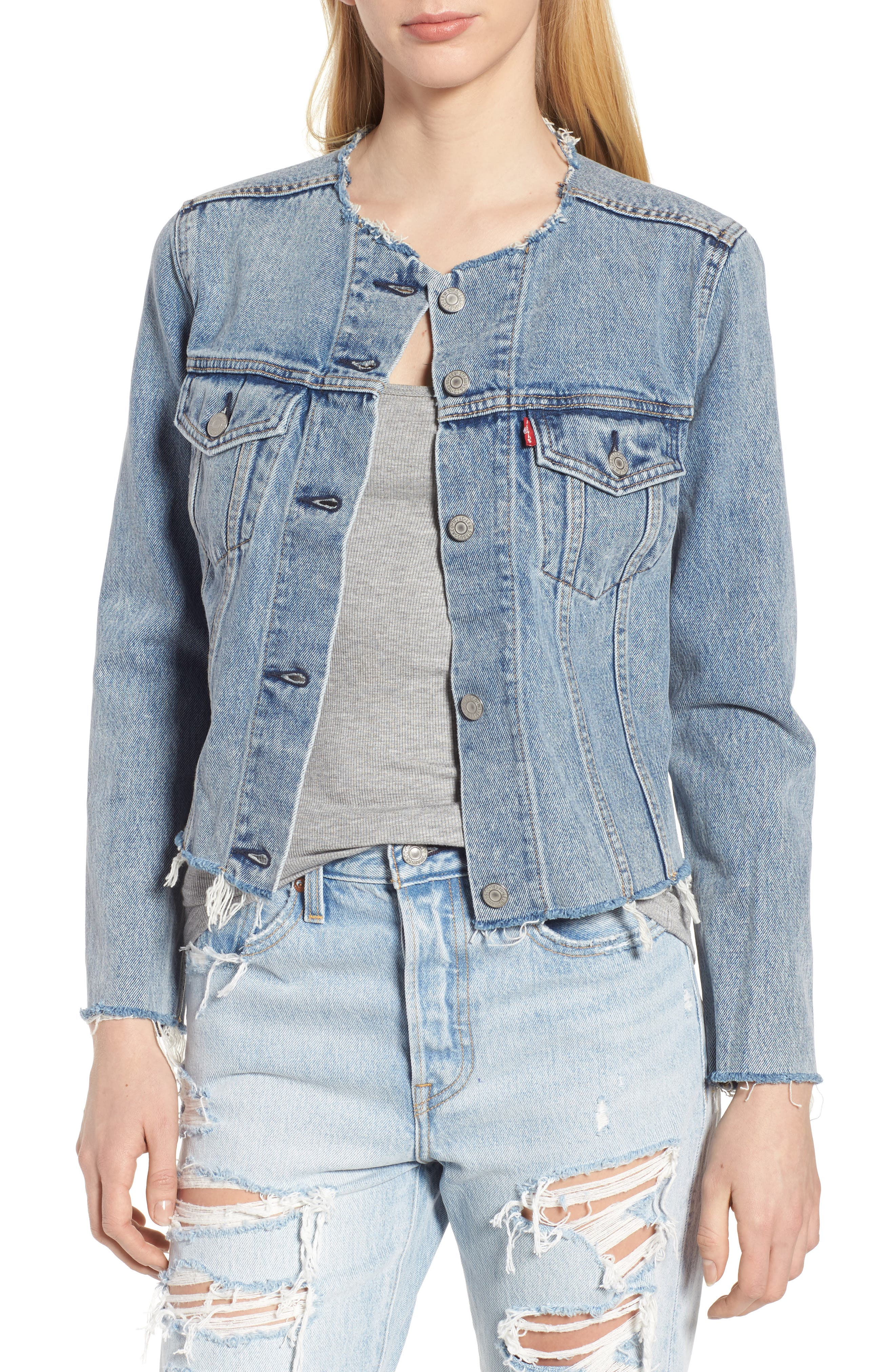 Altered Zip Distressed Trucker Jacket,                             Main thumbnail 2, color,
