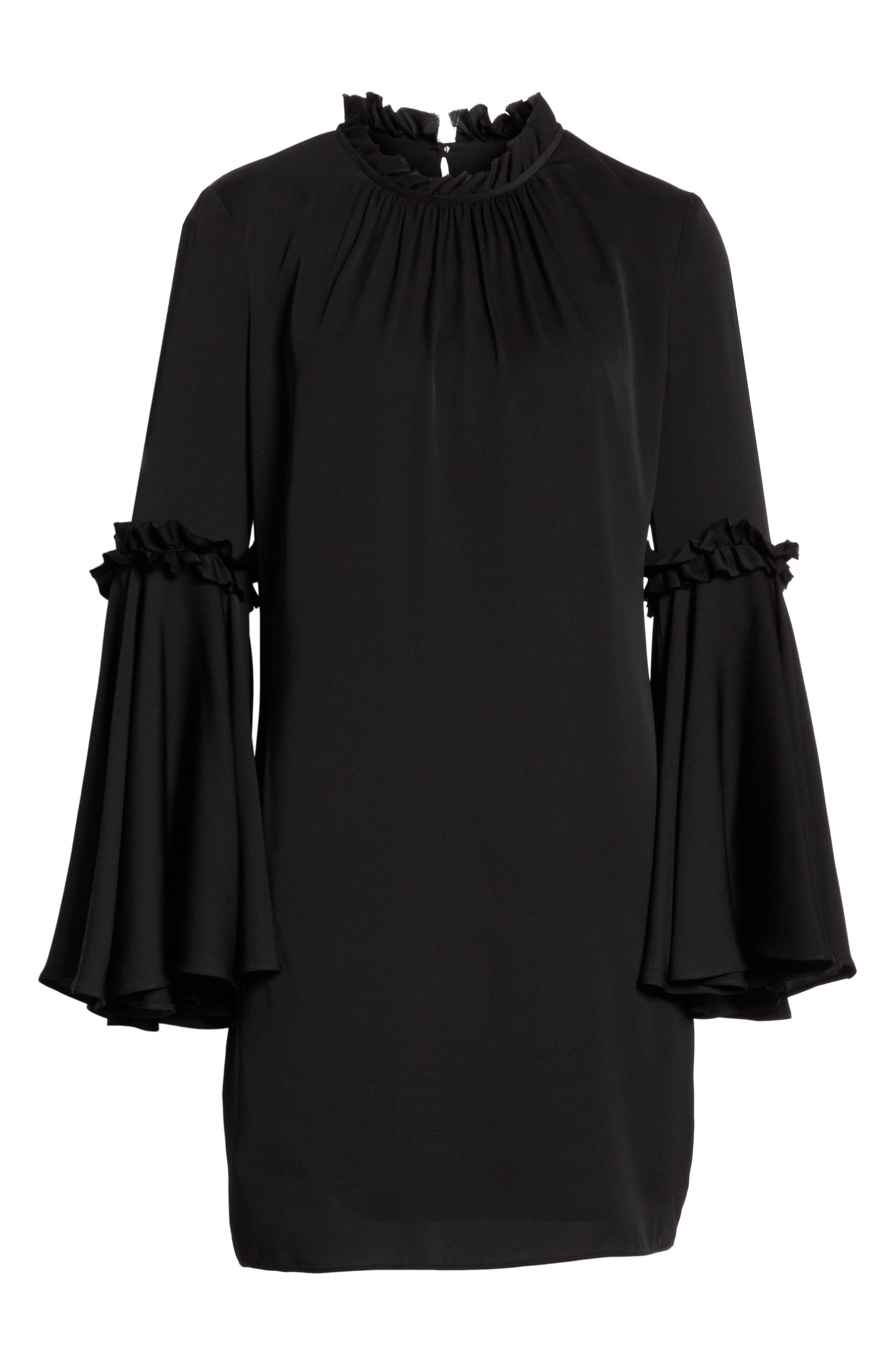 Cassie Bell Sleeve A-Line Dress,                             Alternate thumbnail 6, color,                             001