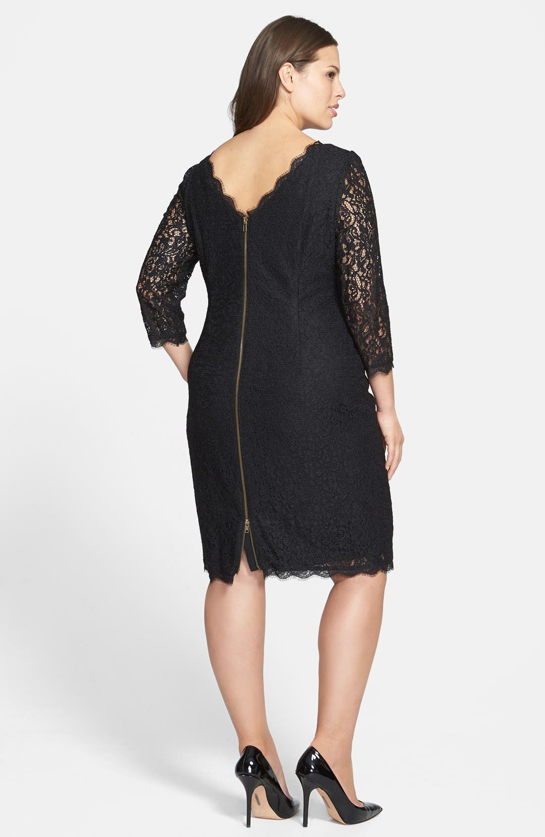 Lace Overlay Sheath Dress,                             Alternate thumbnail 7, color,                             001