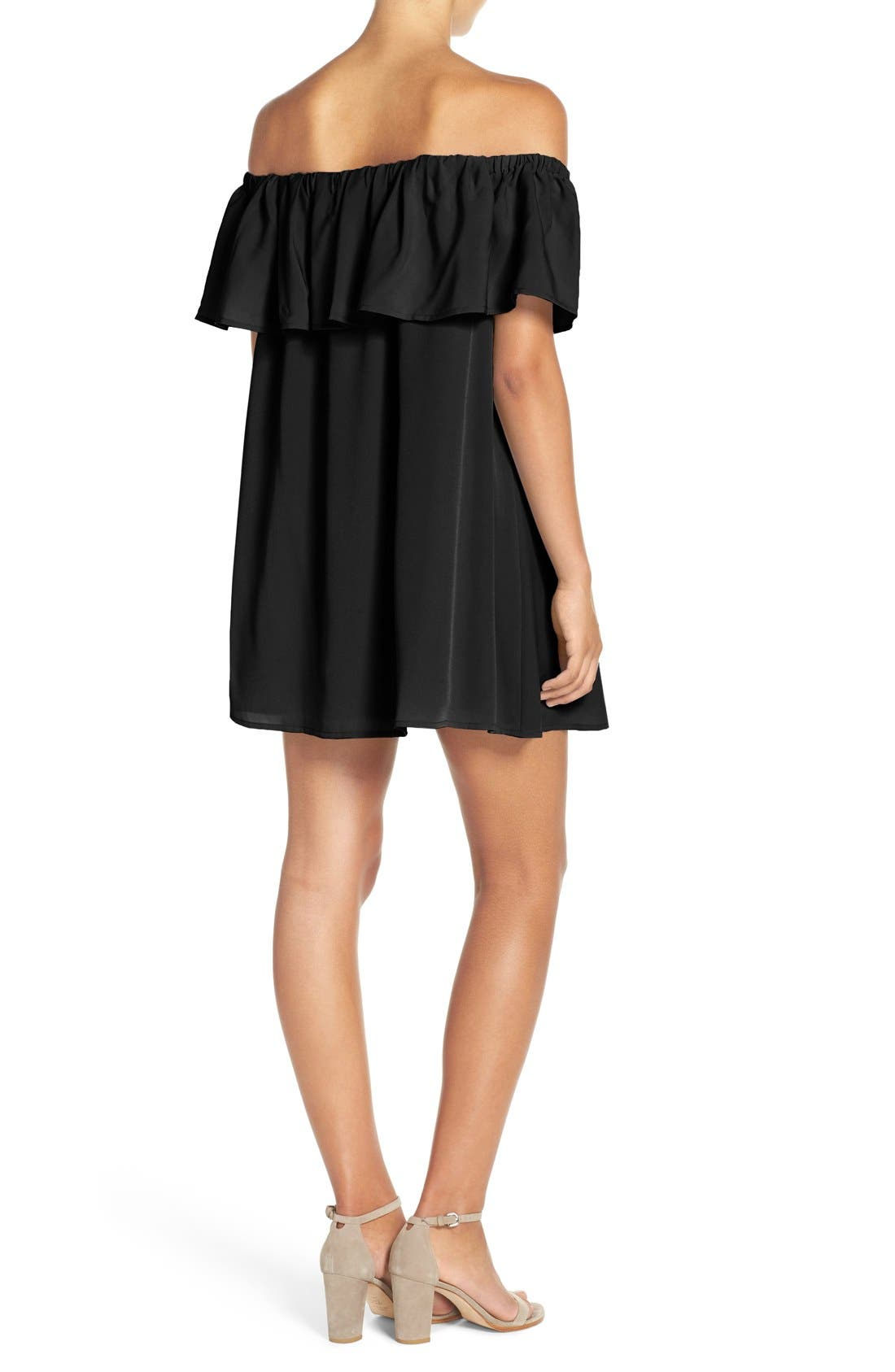 FRENCH CONNECTION,                             'Polly' Ruffle Off the Shoulder Dress,                             Alternate thumbnail 3, color,                             001