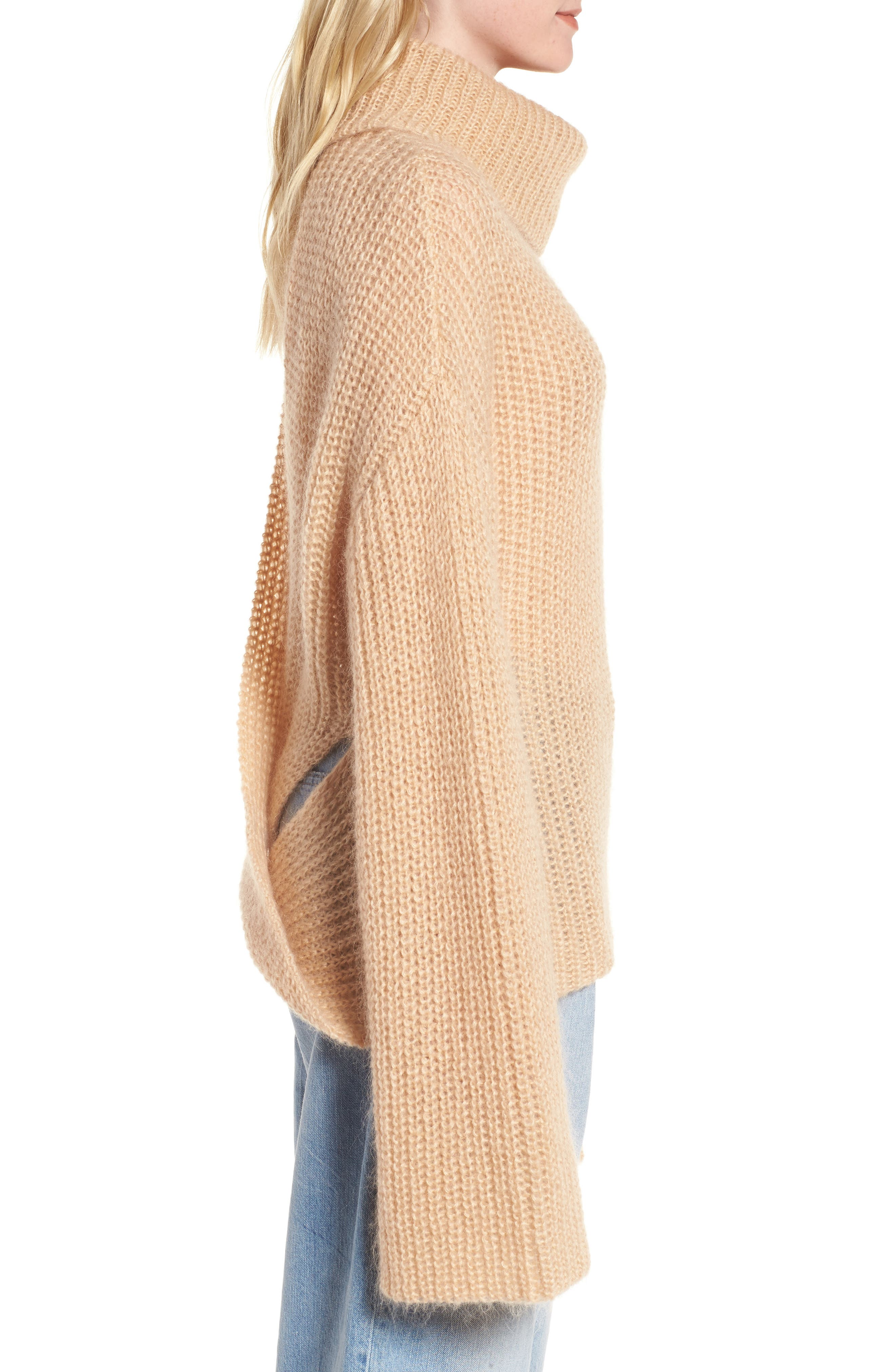 Cross Back Turtleneck Sweater,                             Alternate thumbnail 3, color,                             250