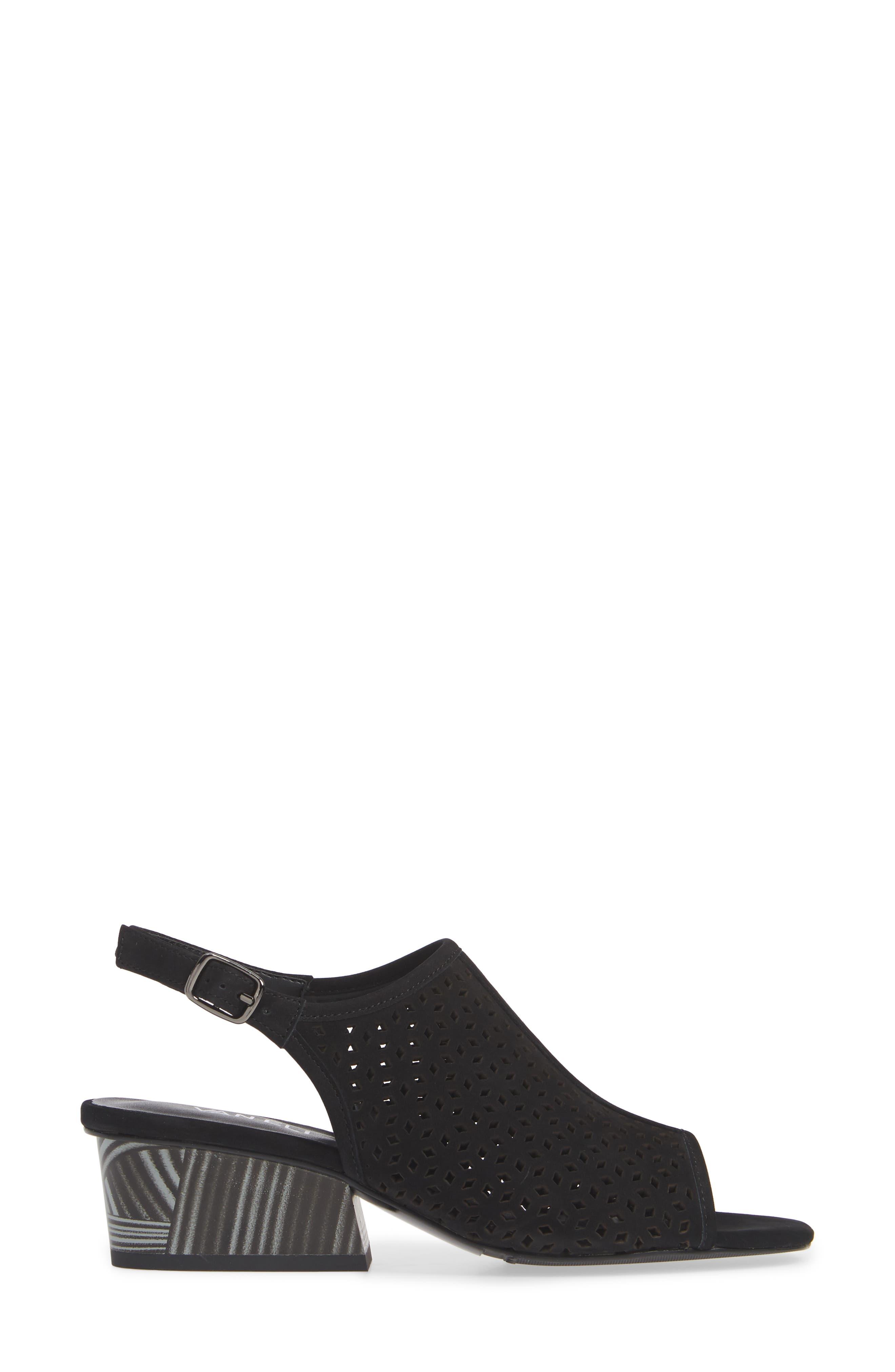 Candra Perforated Sandal,                             Alternate thumbnail 3, color,                             BLACK NUBUCK LEATHER