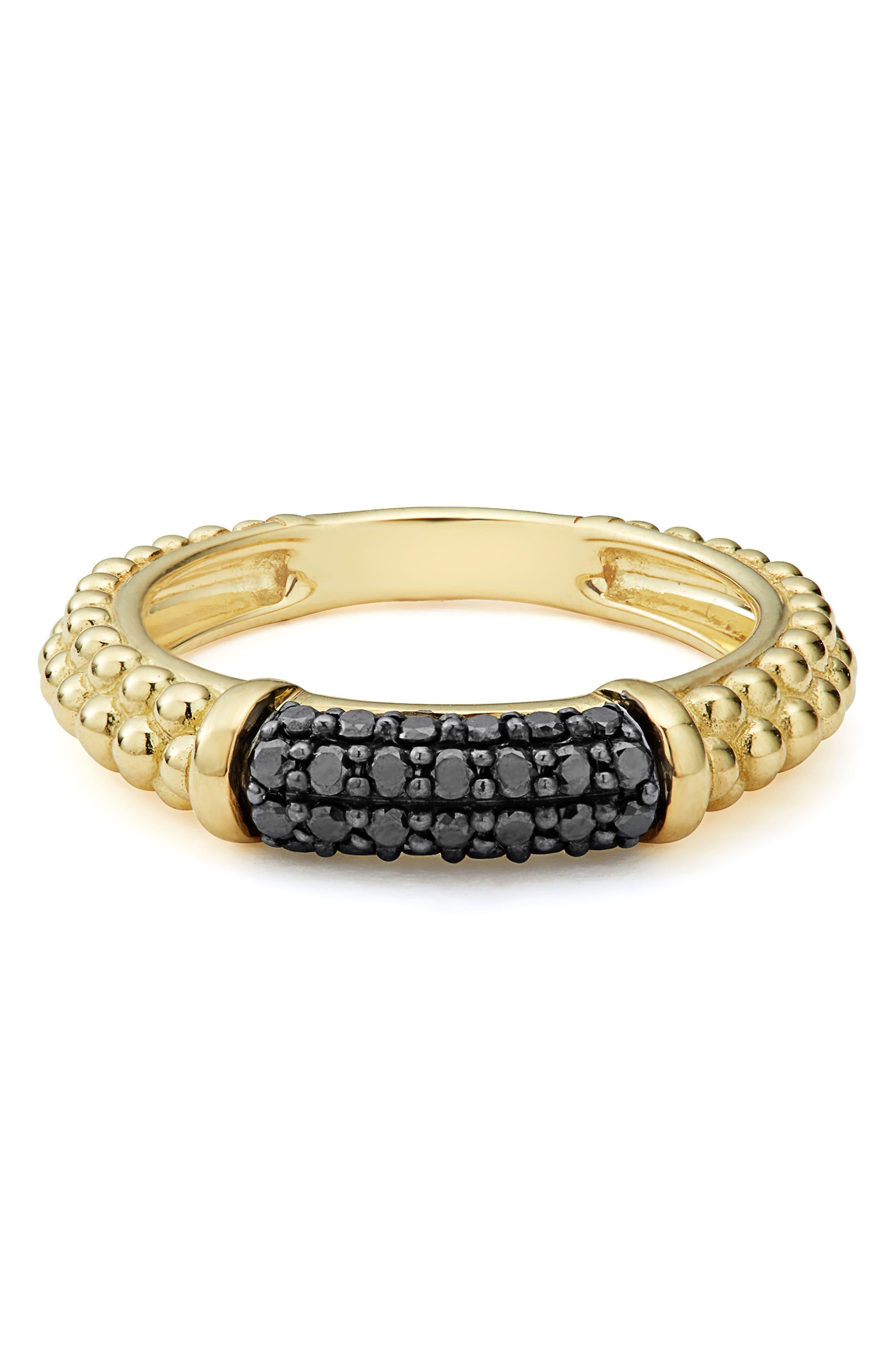 Gold & Black Caviar Black Diamond Pavé Stacking Ring,                             Alternate thumbnail 4, color,                             GOLD