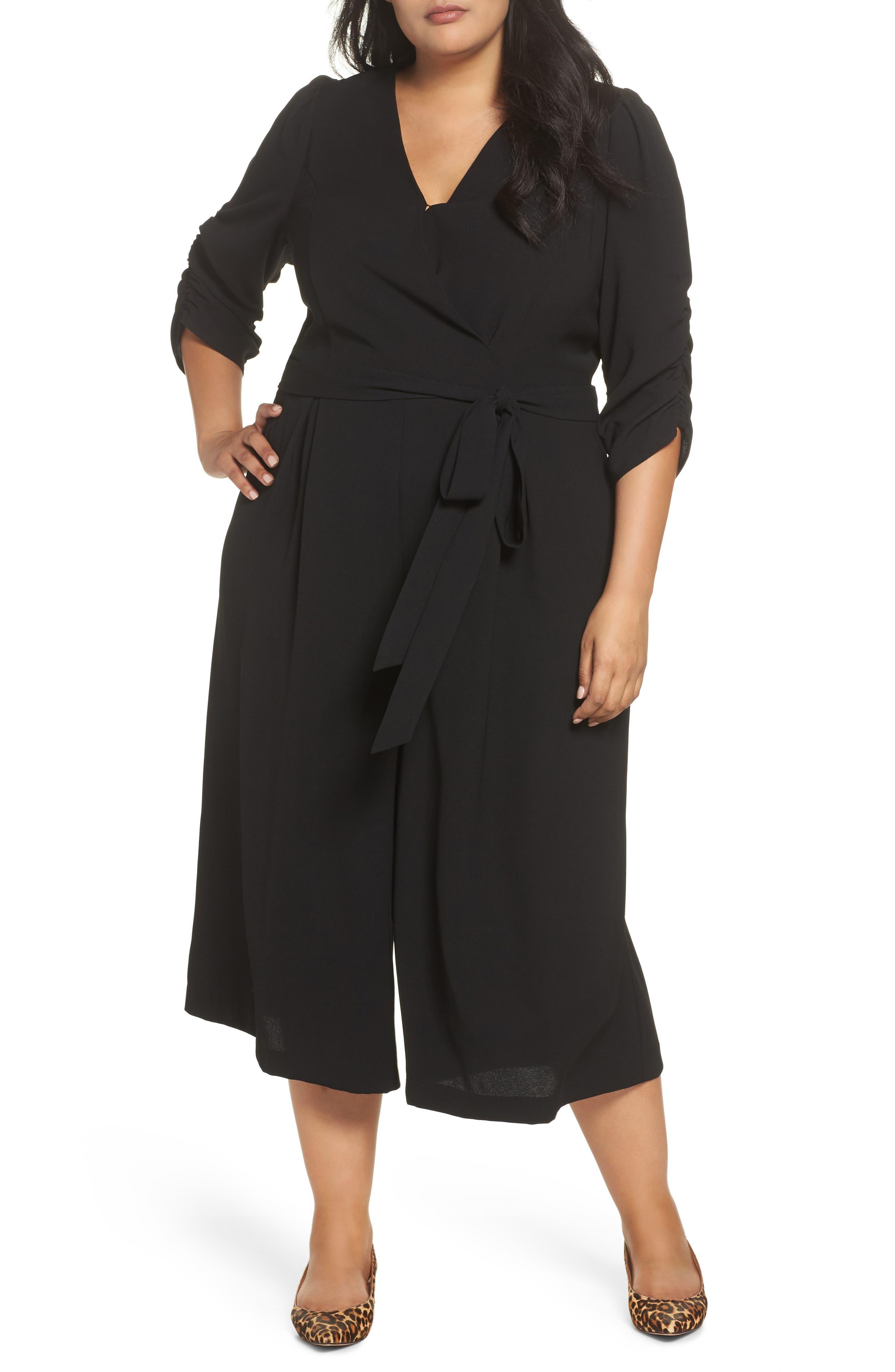 Surplice Ruched Sleeve Wide Leg Jumpsuit,                         Main,                         color, BLACK