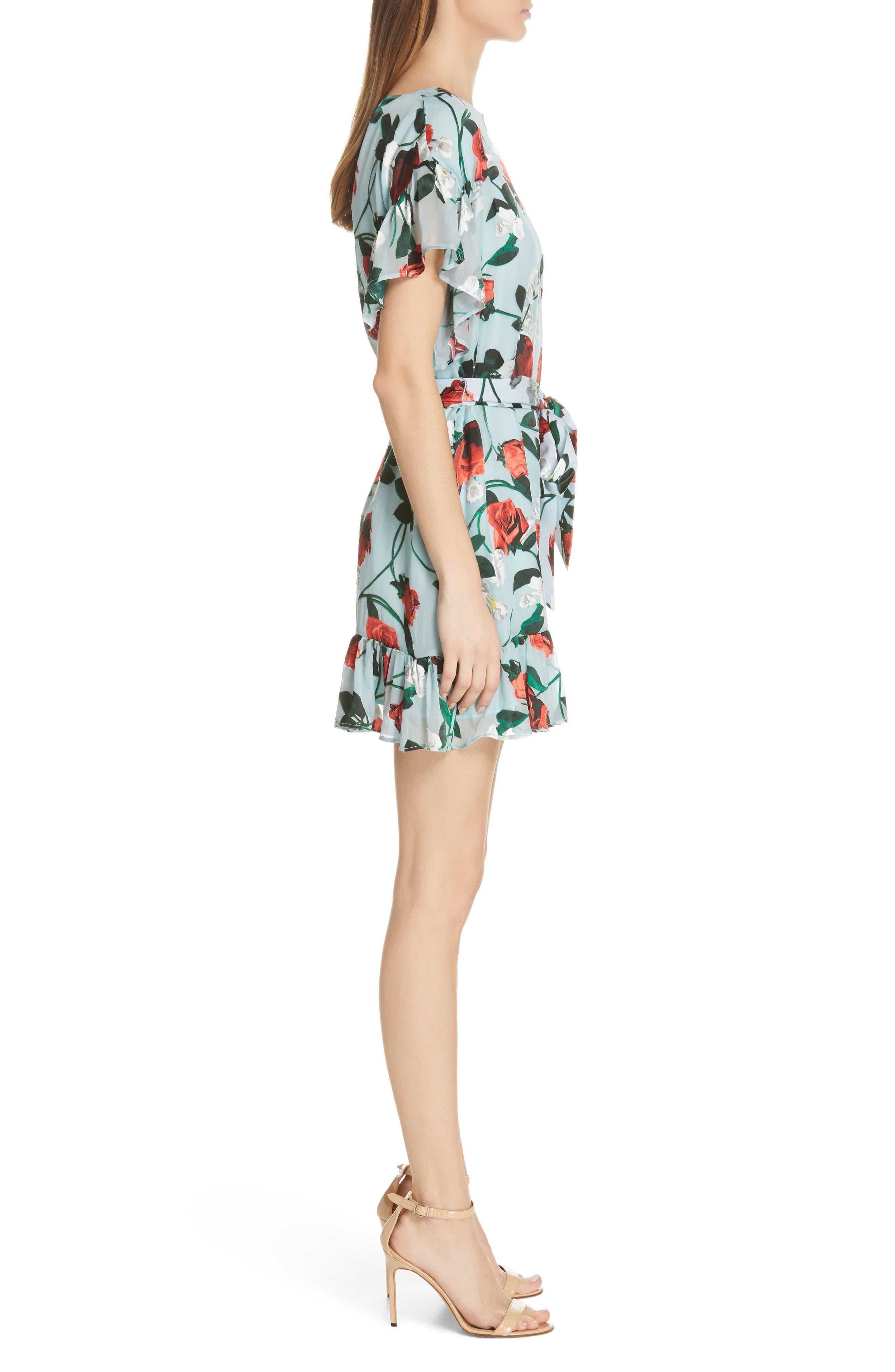 Ellamae Ruffle Sleeve Dress,                             Alternate thumbnail 3, color,                             ROSEBUD FLORAL POWDER BLUE
