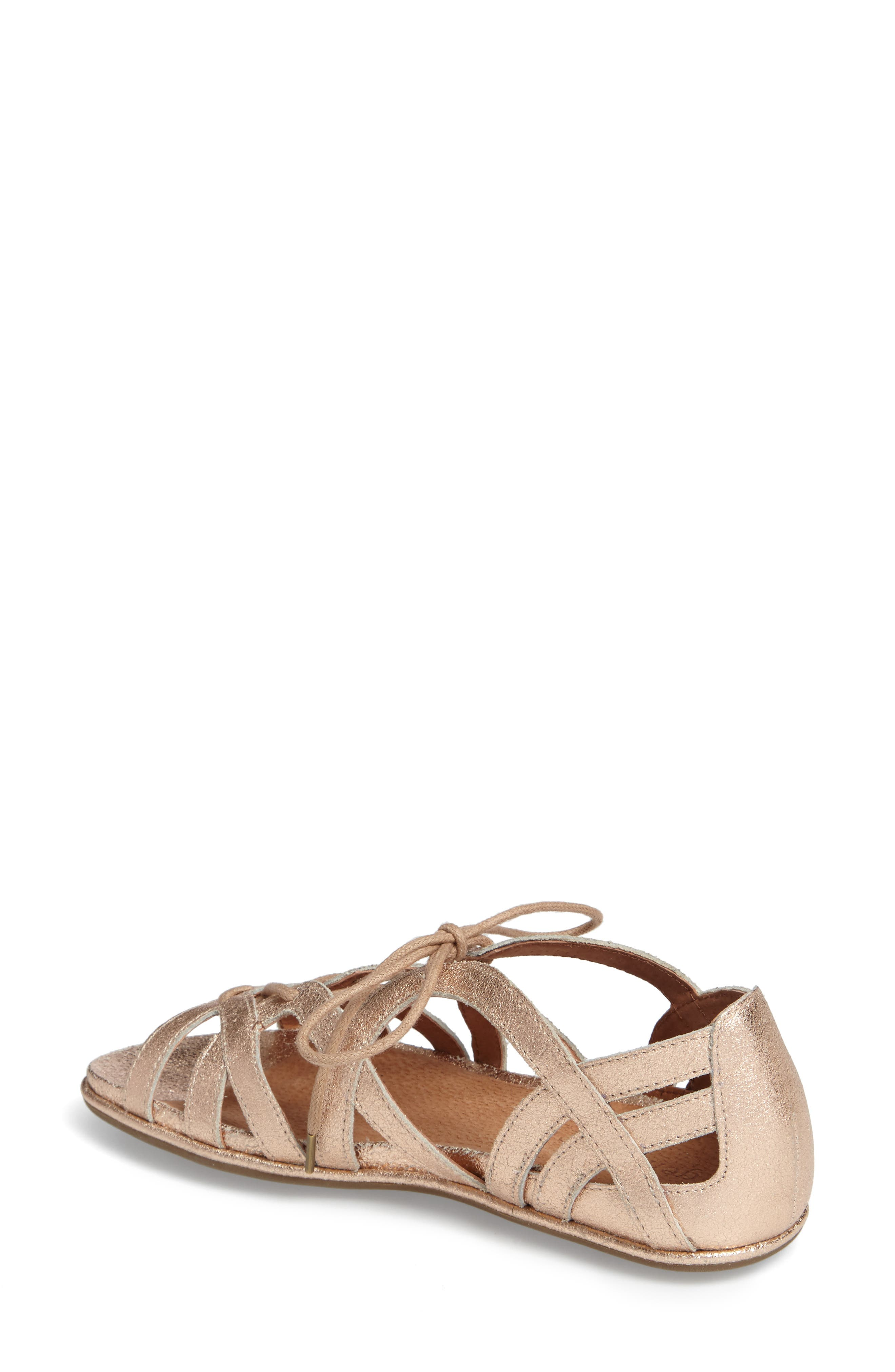 Orly Lace-Up Sandal,                             Alternate thumbnail 2, color,                             ROSE GOLD LEATHER