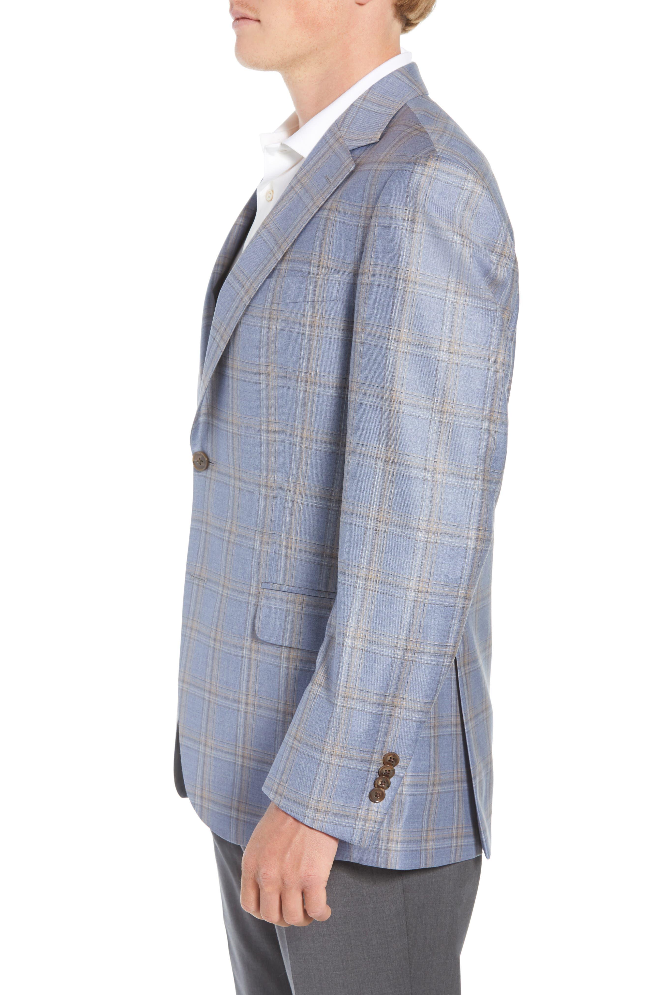 Flynn Classic Fit Wool Sport Coat,                             Alternate thumbnail 3, color,                             LIGHT BLUE