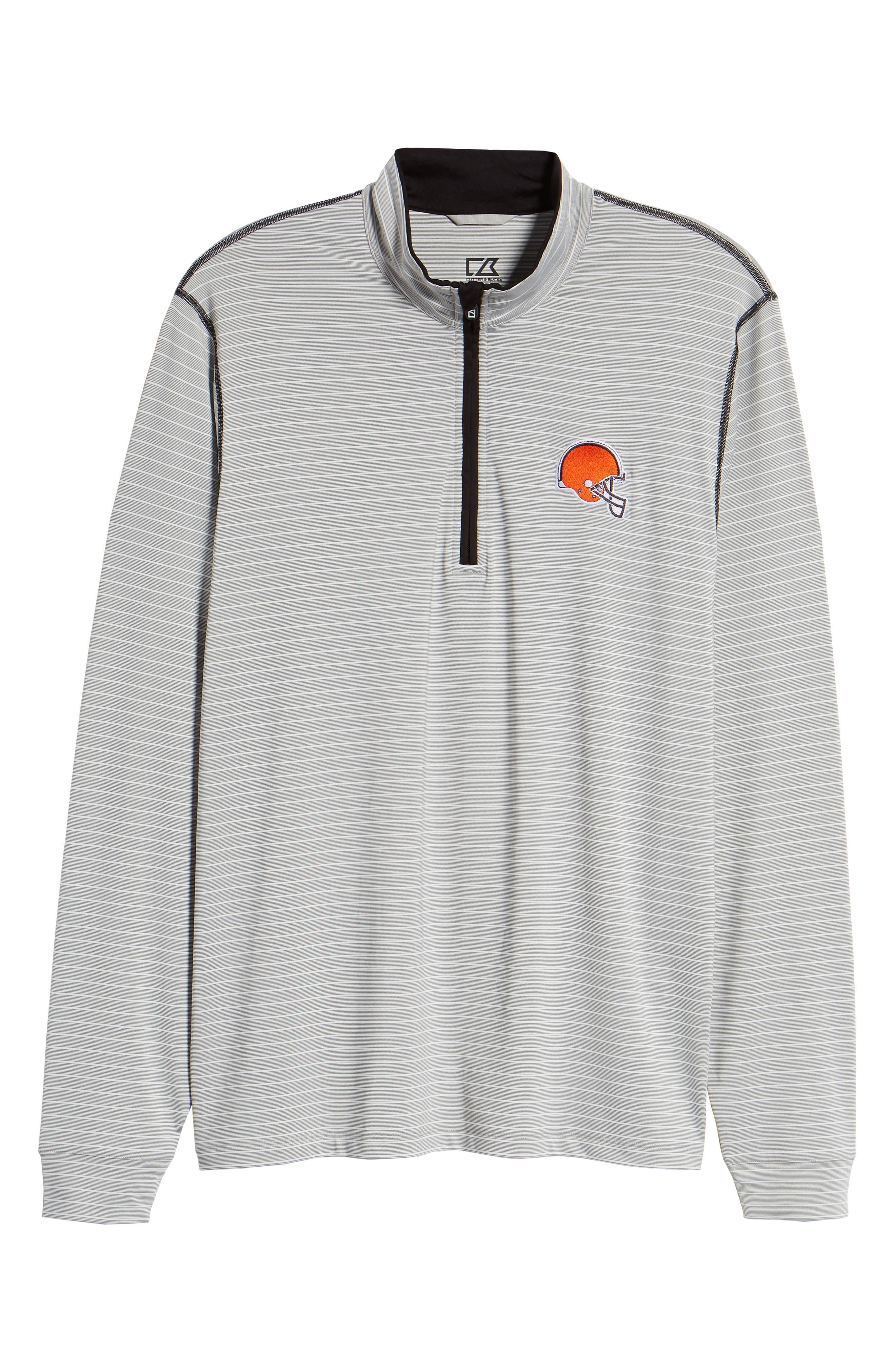 Meridian - Cleveland Browns Regular Fit Half Zip Pullover,                             Alternate thumbnail 6, color,                             BLACK
