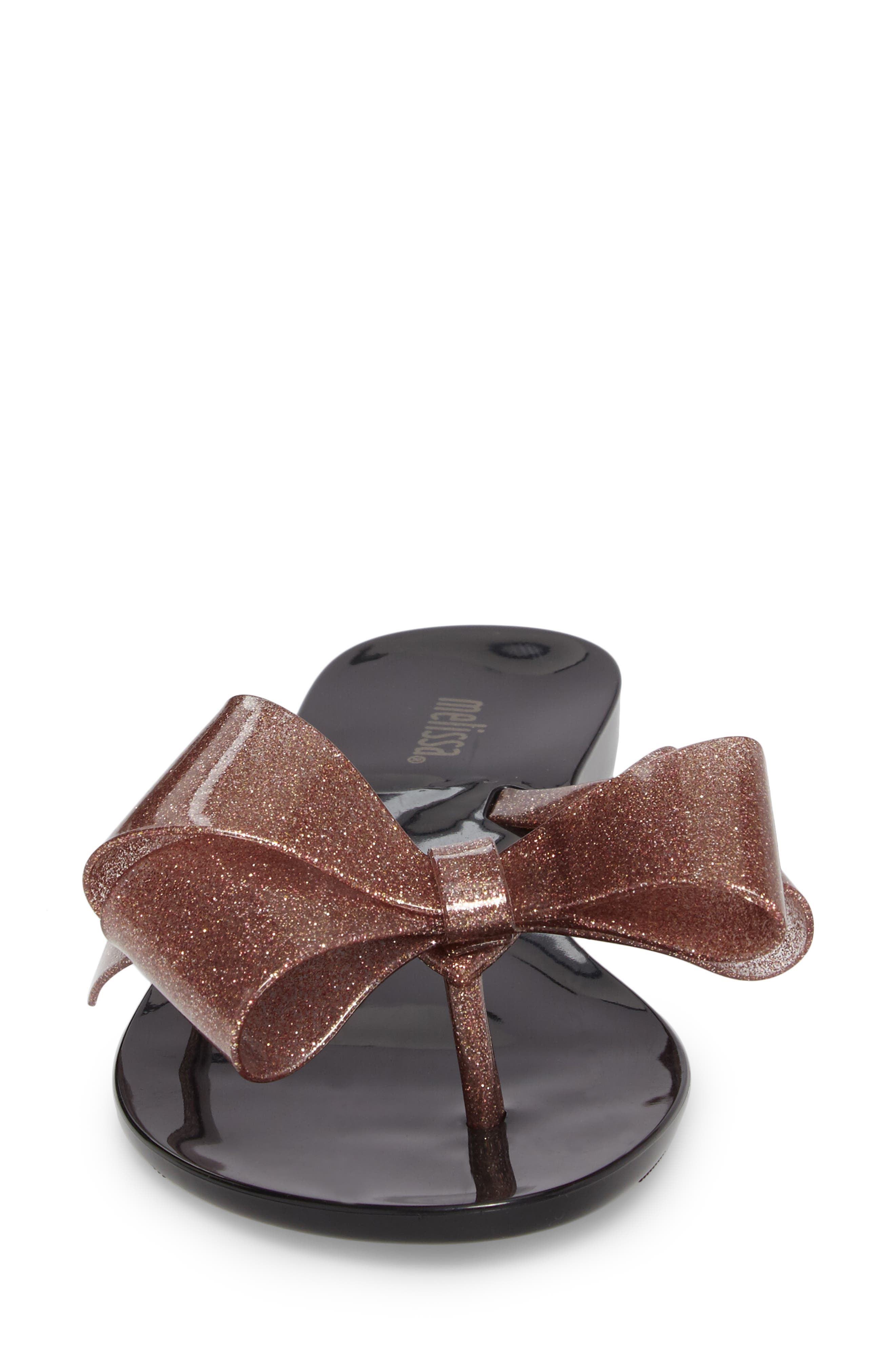 MELISSA,                             Harmonic Bow III Flip Flop,                             Alternate thumbnail 4, color,                             BLACK ROSE GLITTER