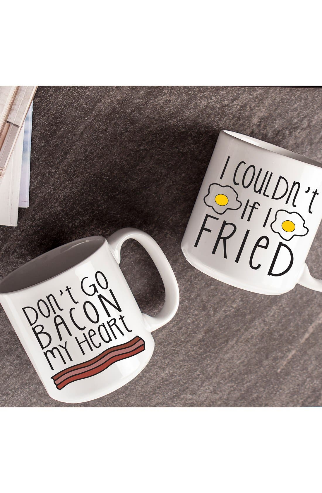 CATHY'S CONCEPTS,                             'Bacon & Eggs' Ceramic Coffee Mugs,                             Alternate thumbnail 2, color,                             100