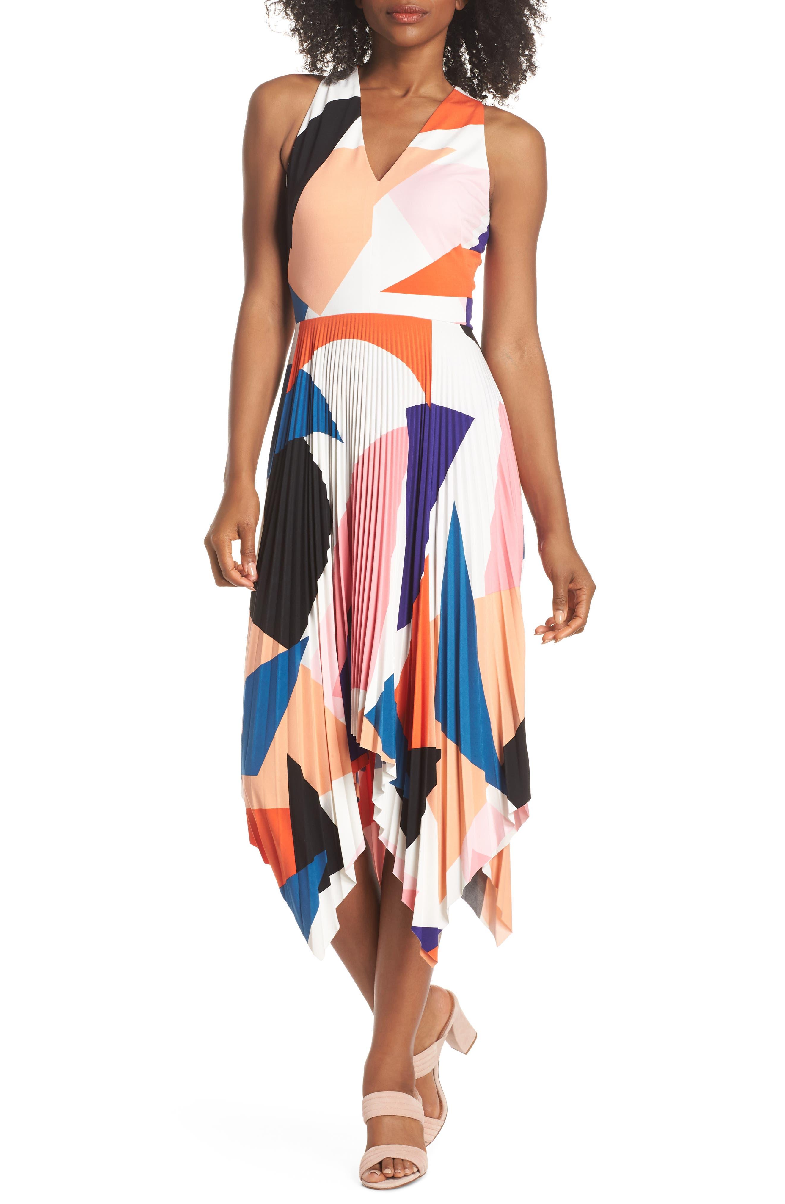Print Handkerchief Hem Midi Dress,                             Main thumbnail 1, color,                             650