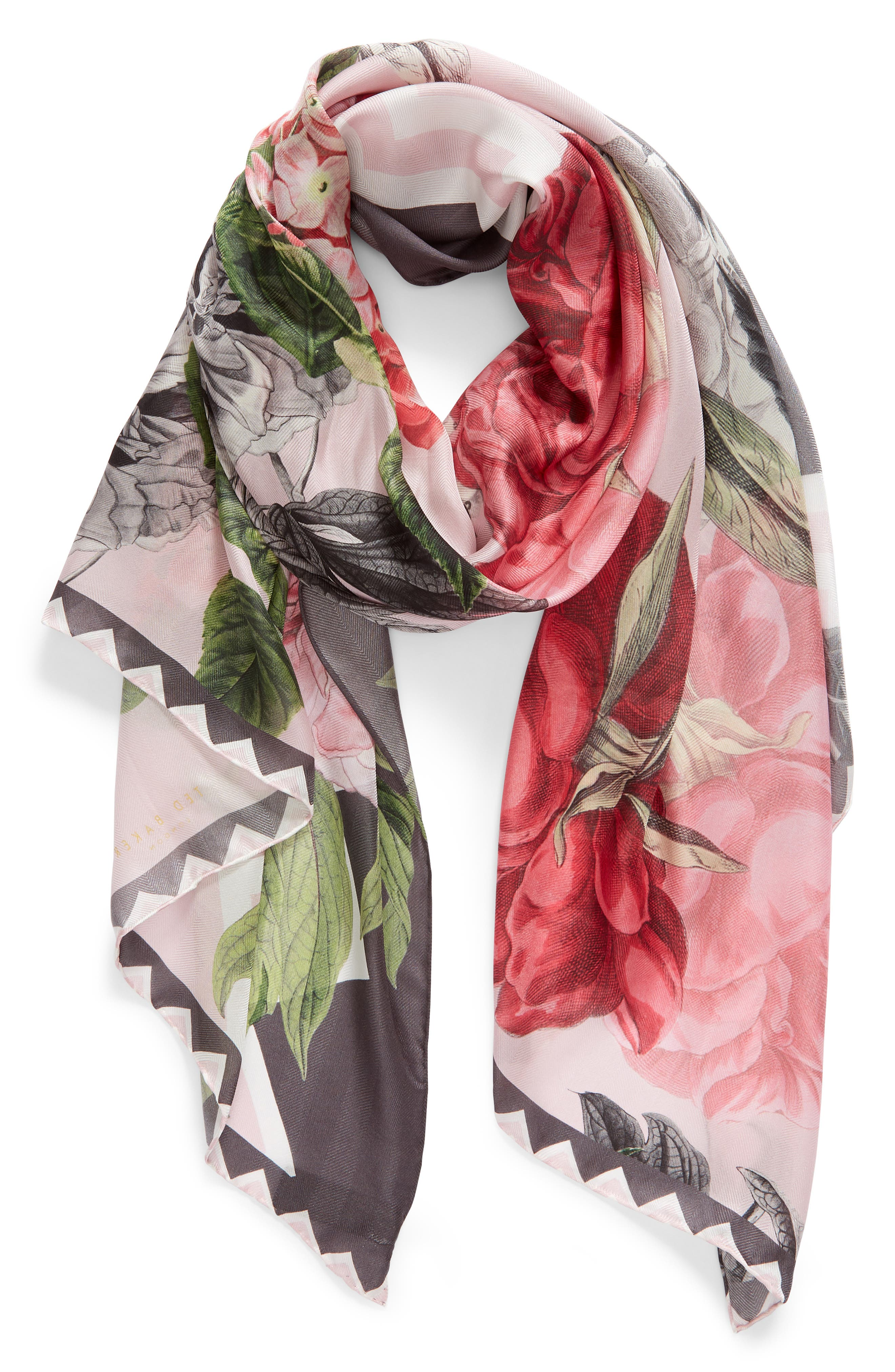 Palace Gardens Silk Scarf,                             Alternate thumbnail 2, color,                             DUSKY PINK