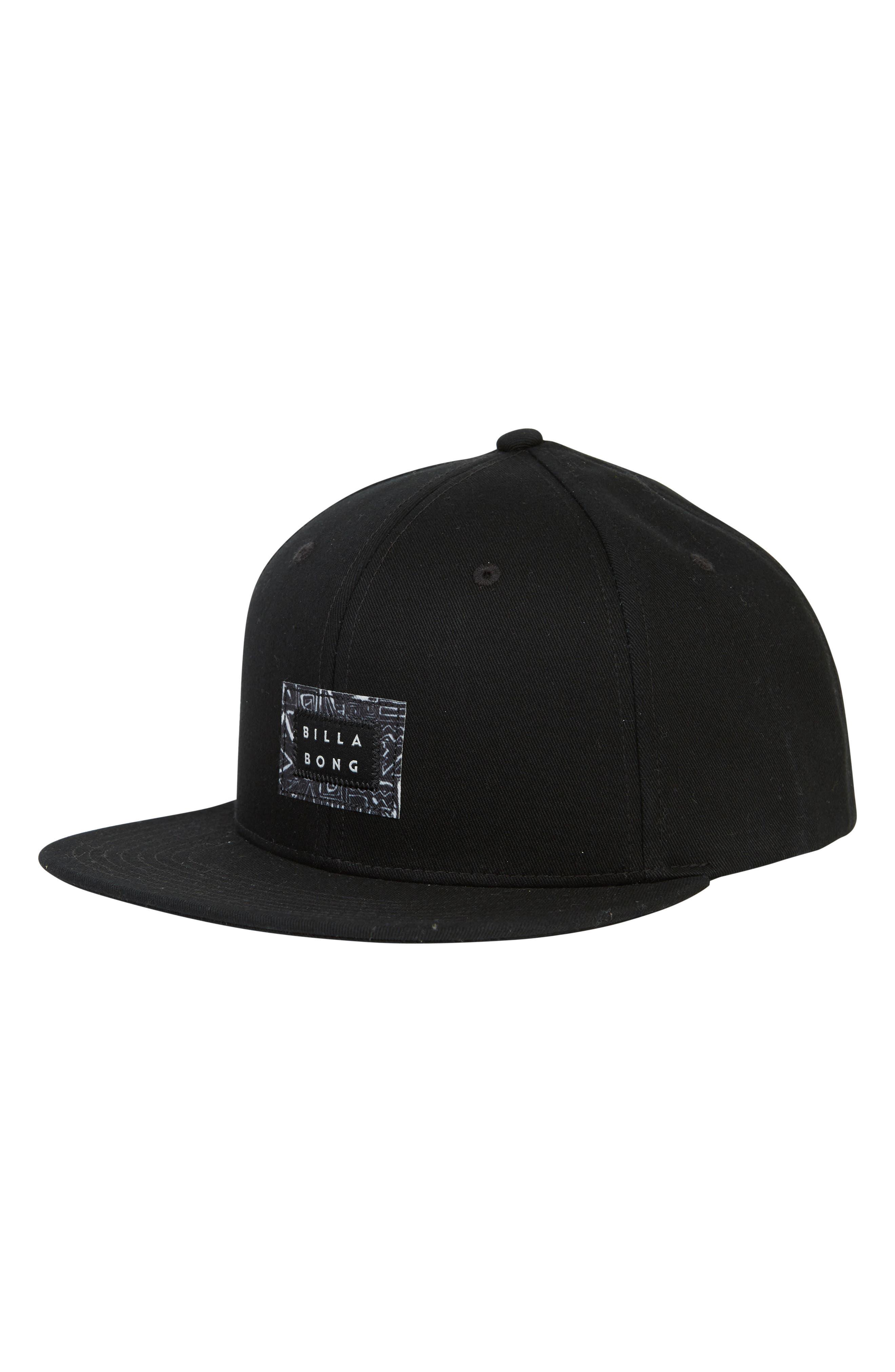 Plateau Snapback Baseball Cap,                             Main thumbnail 1, color,                             BLACK
