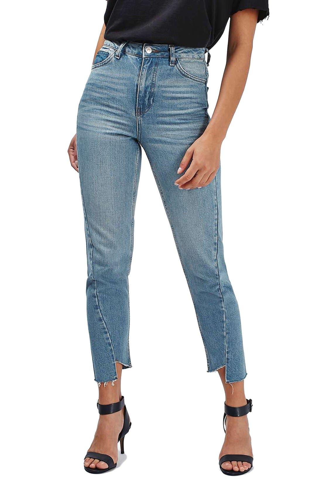 Mom Asymmetrical Step Hem Jeans,                             Main thumbnail 1, color,                             400