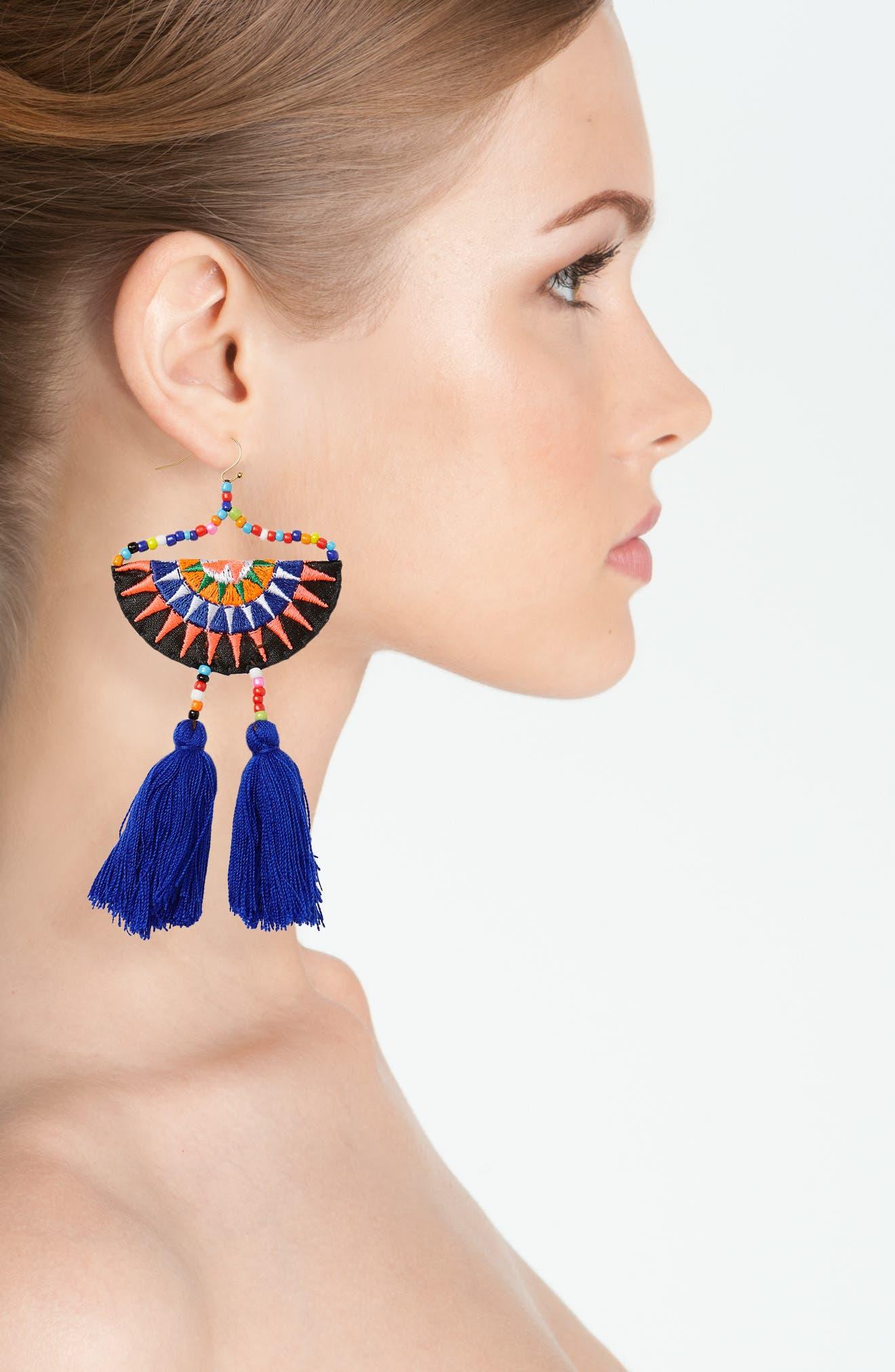 Tassel Embroidered Earrings,                             Alternate thumbnail 2, color,                             400
