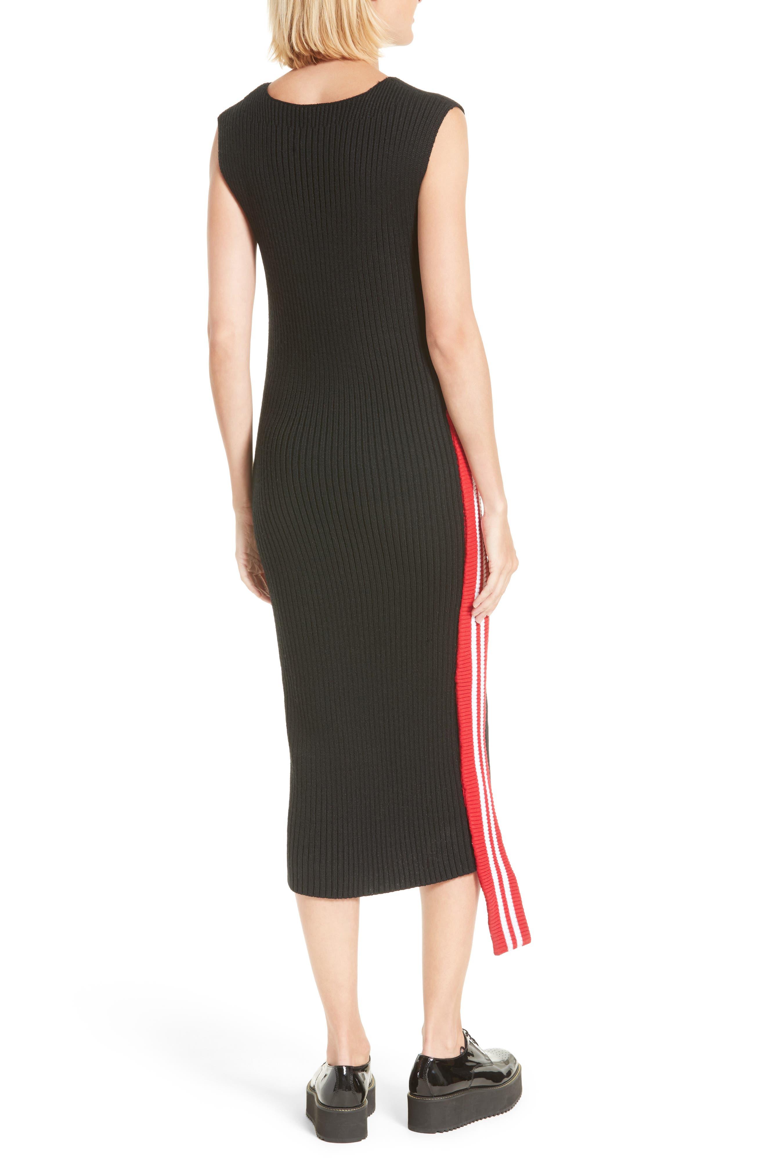 Serat Stripe Rib Knit Dress,                             Alternate thumbnail 2, color,                             001