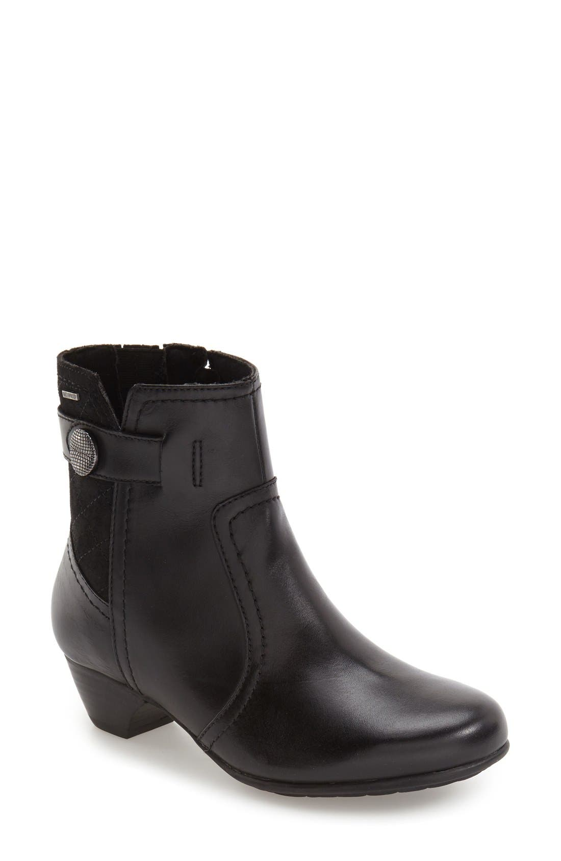 'Patrina' Waterproof Zip Bootie,                         Main,                         color, BLACK MULTI LEATHER