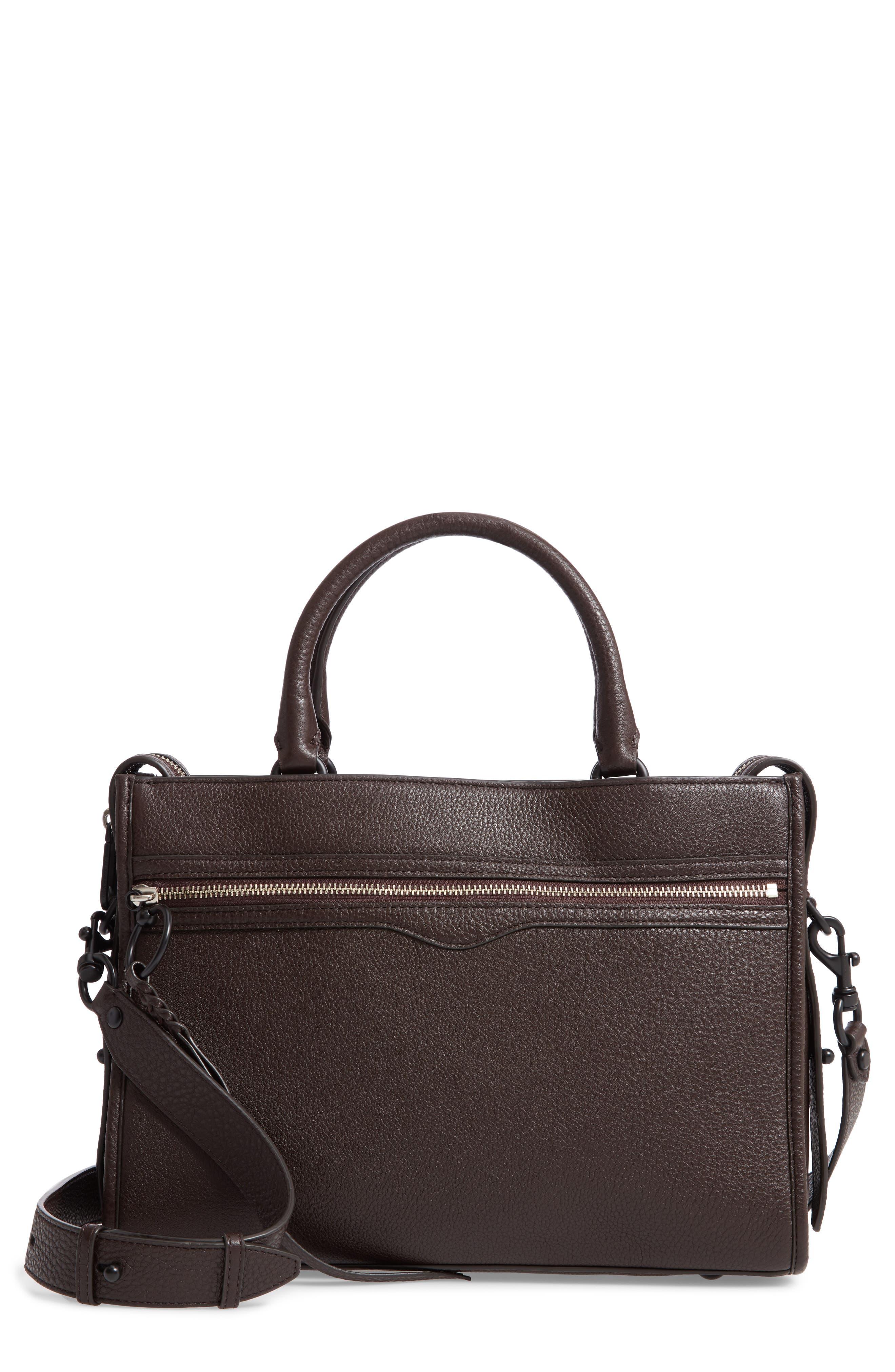 Bedford Zip Leather Satchel,                             Main thumbnail 1, color,                             GANACHE