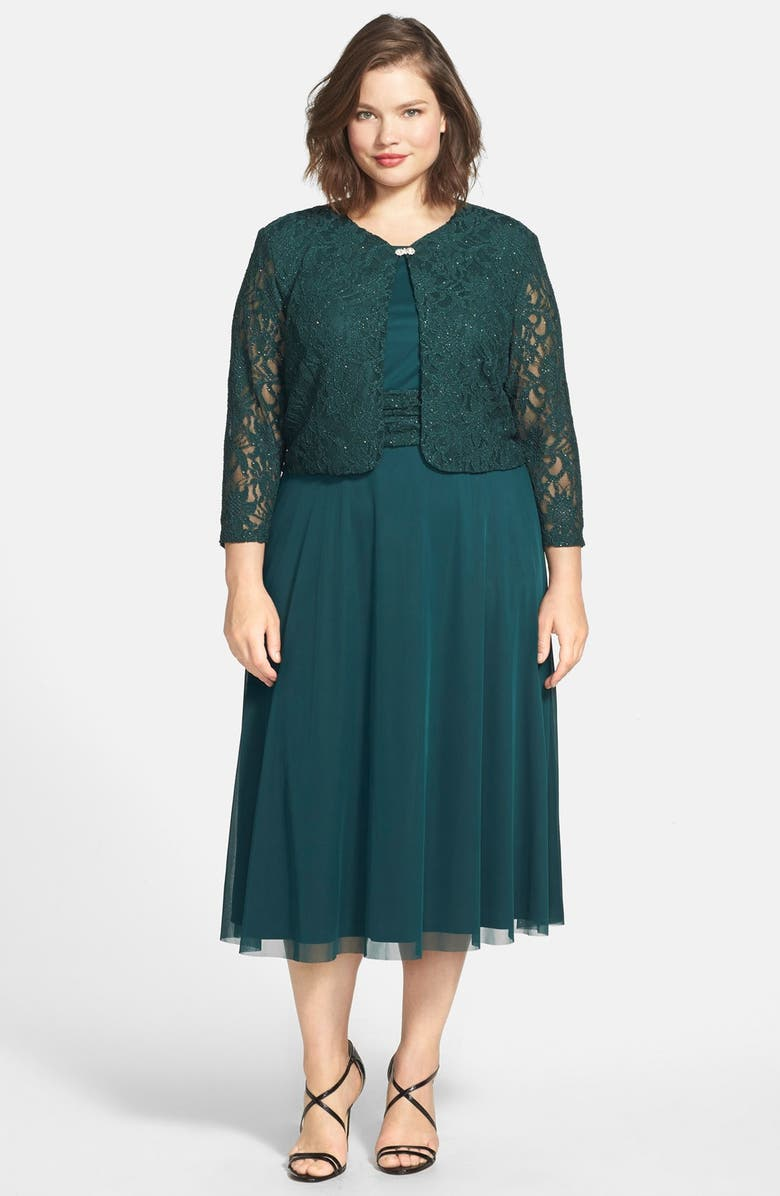 a4542f5ae7b Jessica Howard Ruched Waist Dress   Crop Lace Jacket (Plus Size ...