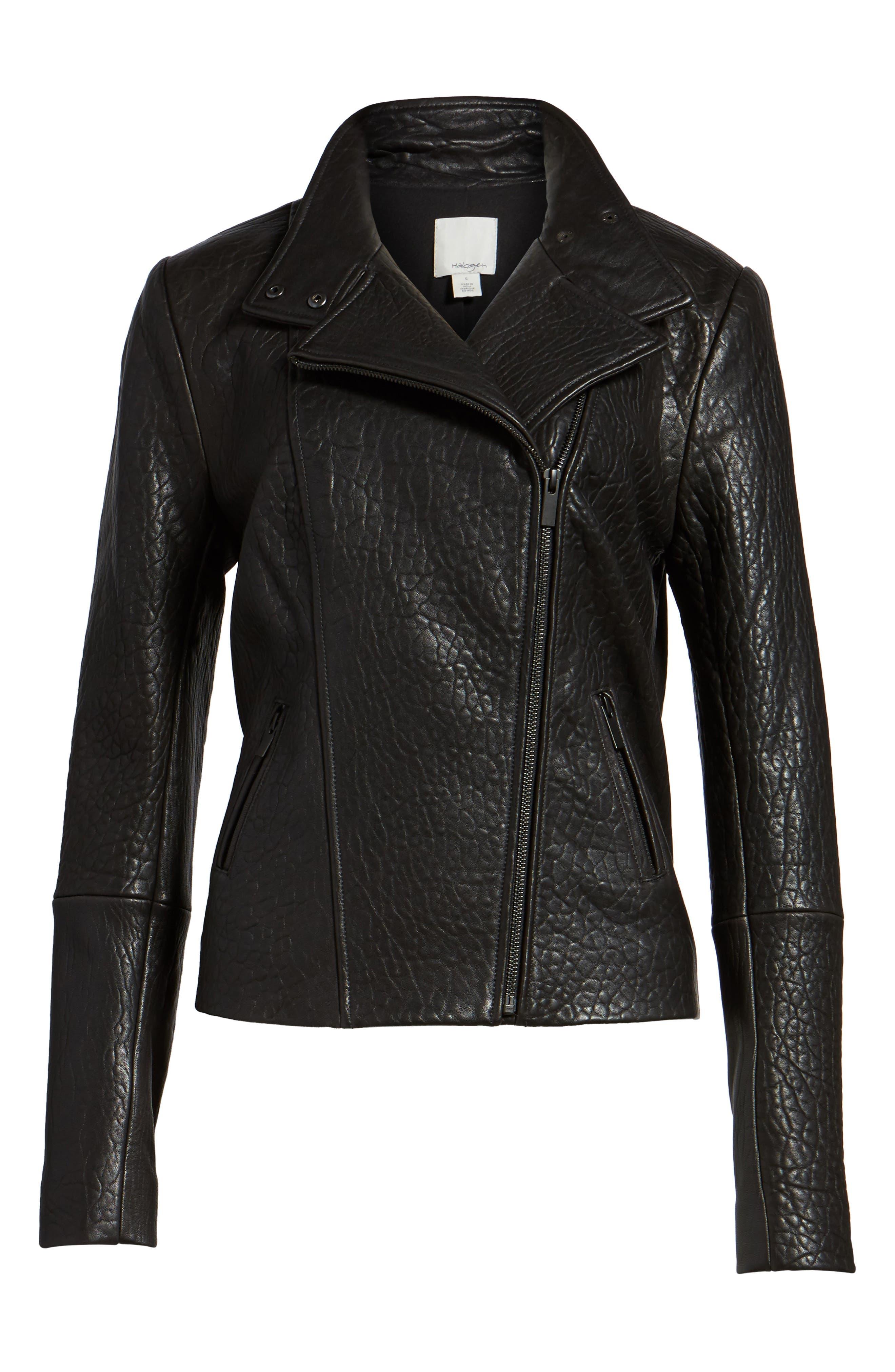 Leather Jacket,                             Alternate thumbnail 6, color,                             001