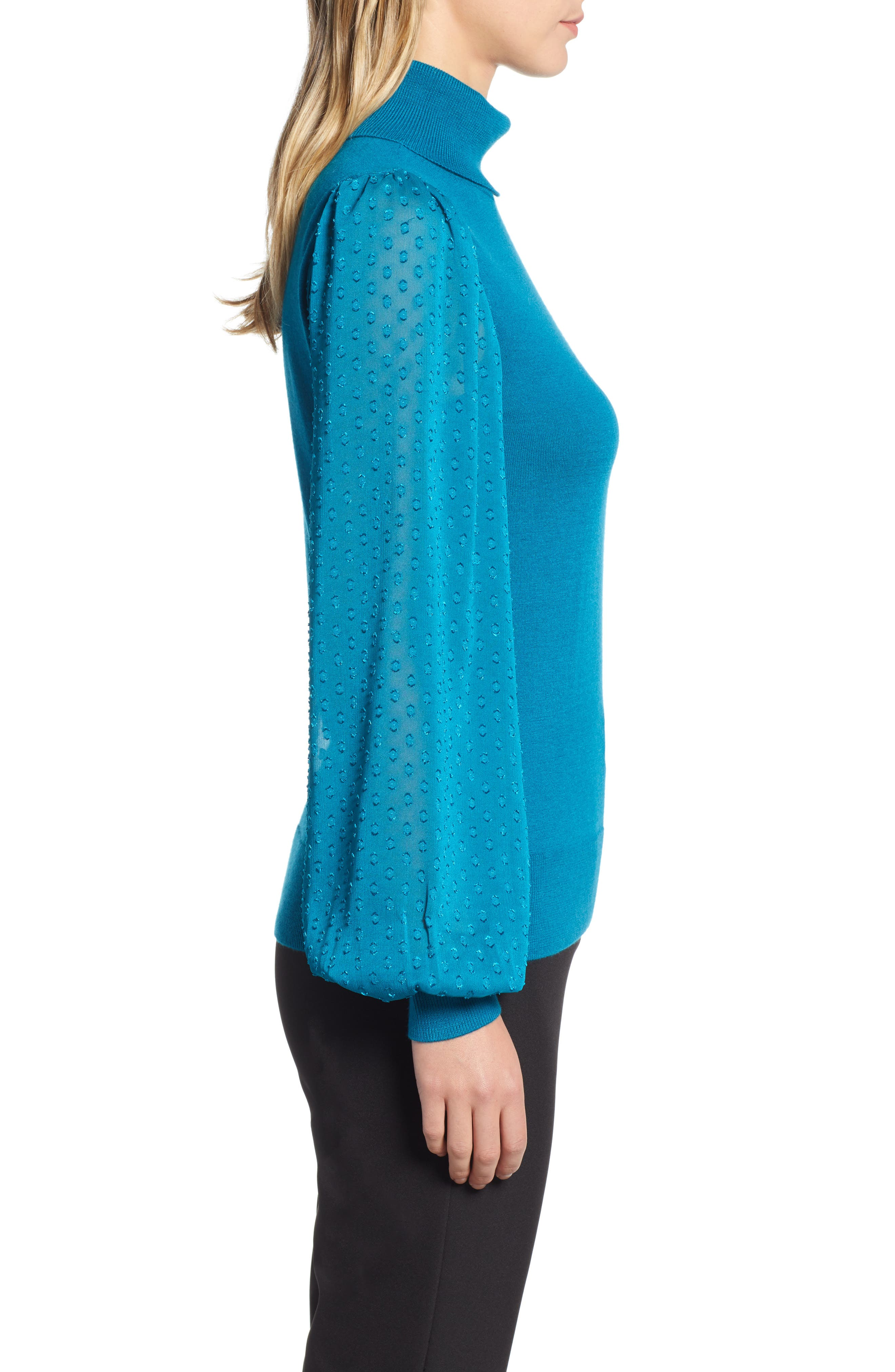 Sheer Sleeve Turtleneck Sweater,                             Alternate thumbnail 3, color,                             449