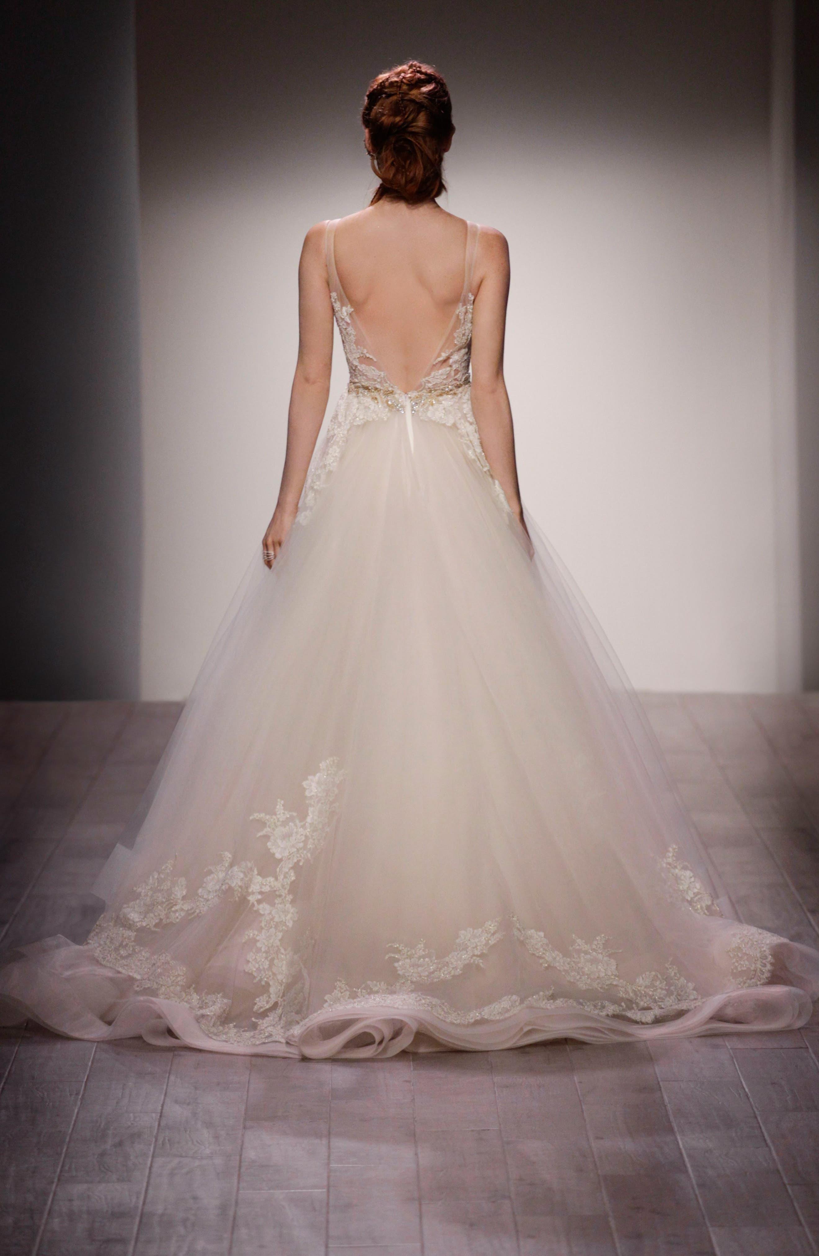 Lace Appliqué Tulle Ballgown Dress,                             Alternate thumbnail 4, color,                             IVORY/GOLD/CHAMPAGNE