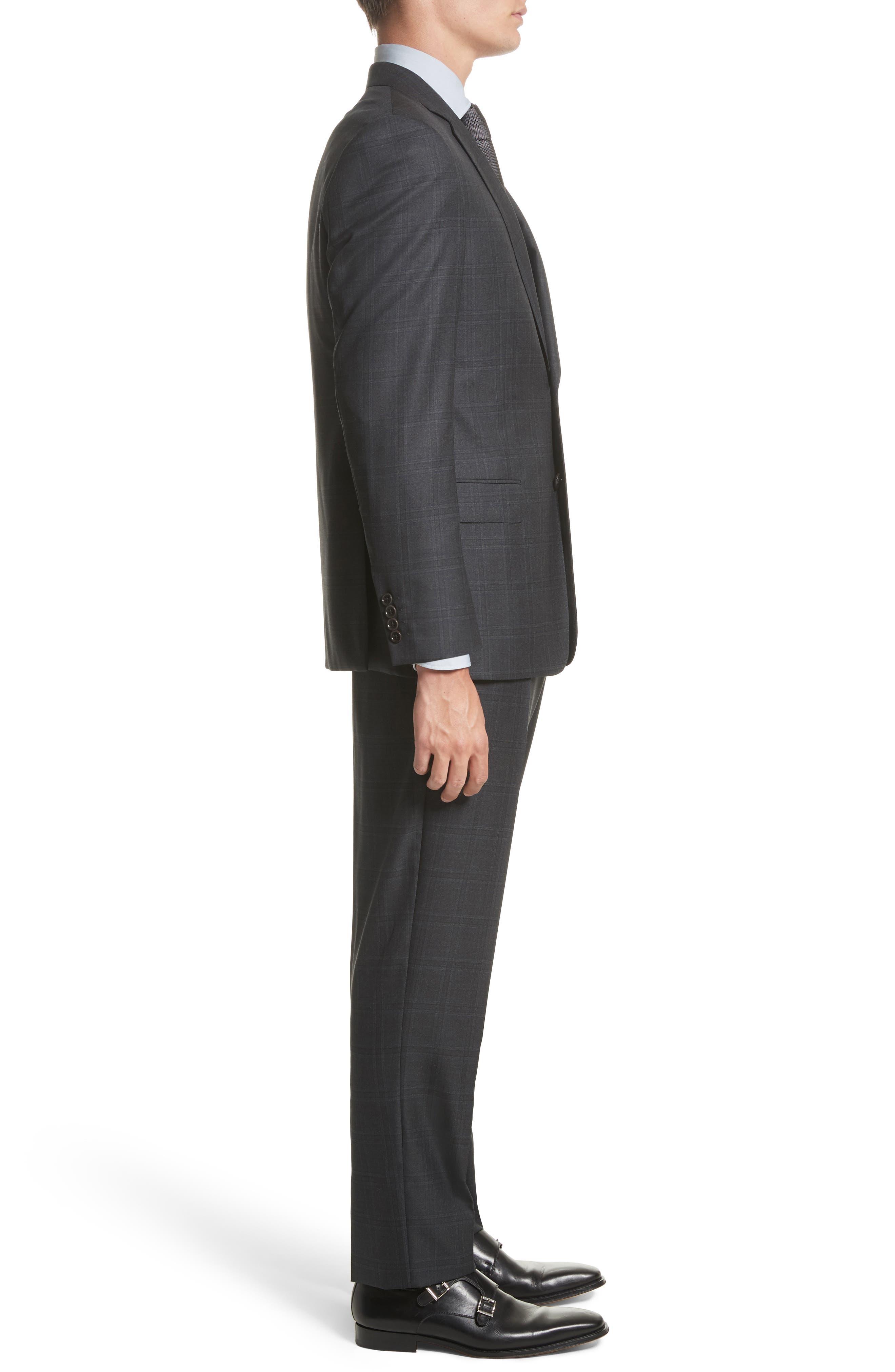 G-Line Trim Fit Plaid Wool Suit,                             Alternate thumbnail 3, color,                             017