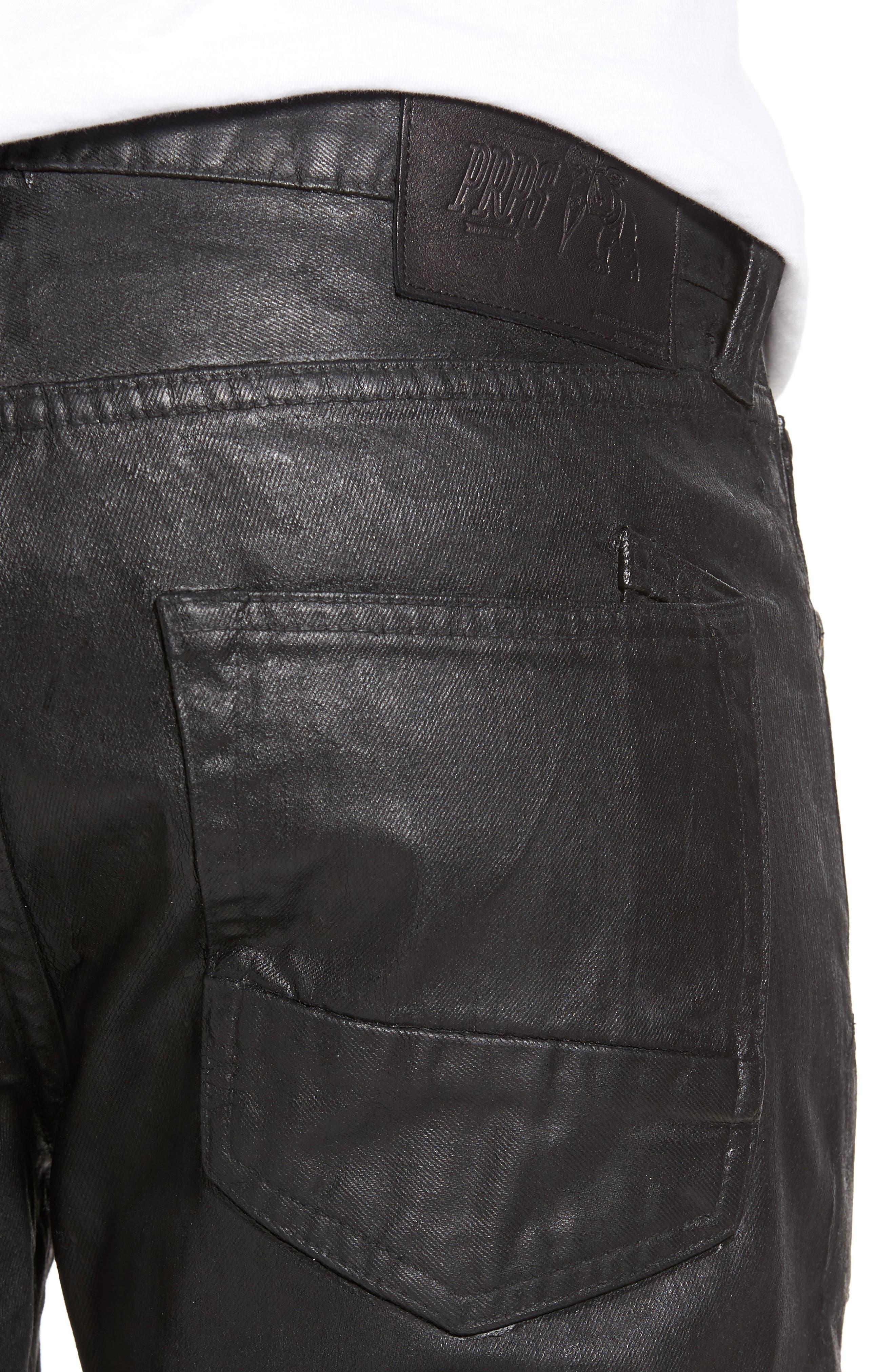 Demon Slim Straight Coated Jeans,                             Alternate thumbnail 4, color,                             BLACK