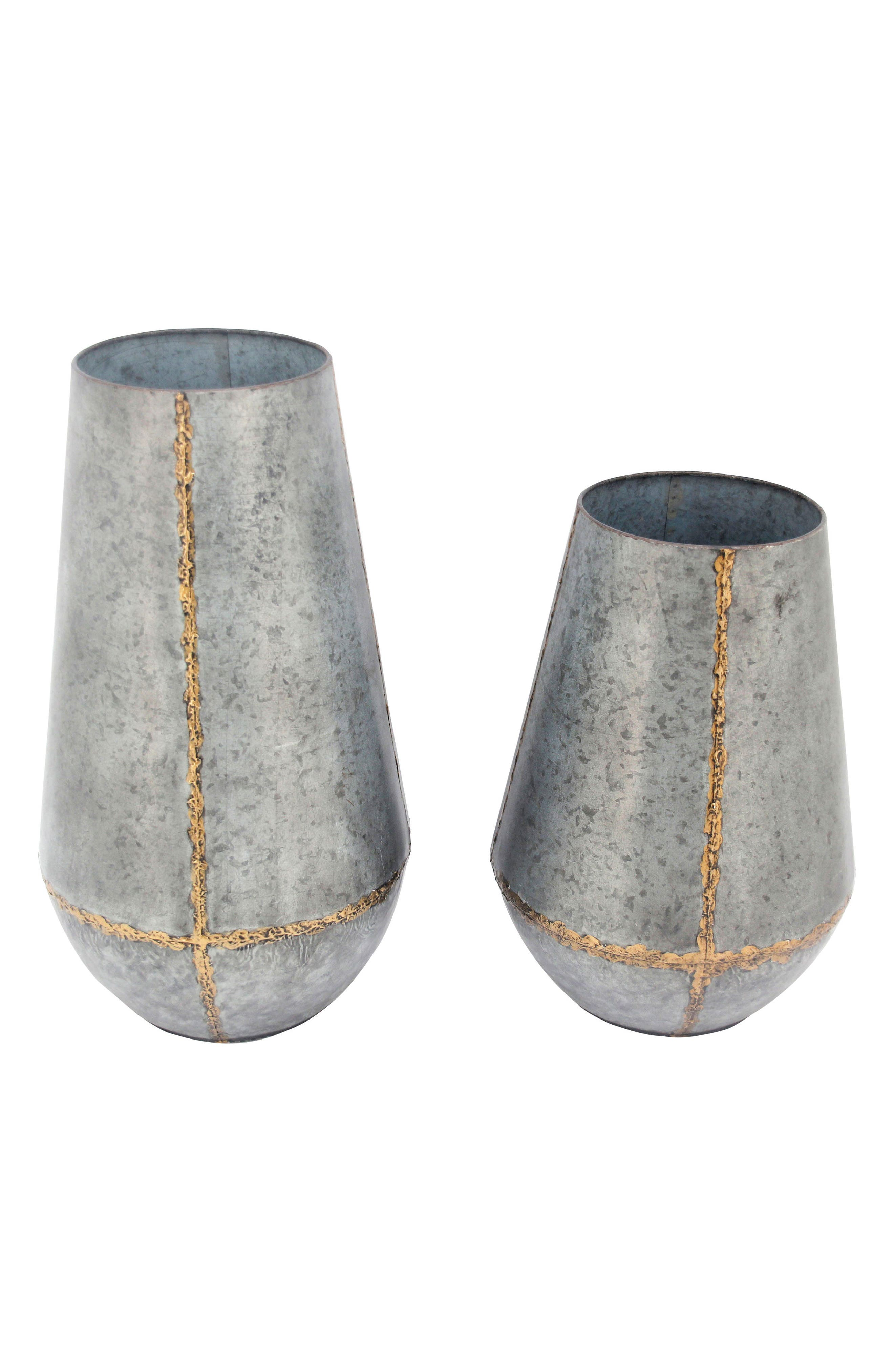 Set of 2 Soldered Metal Vases,                             Main thumbnail 1, color,                             040
