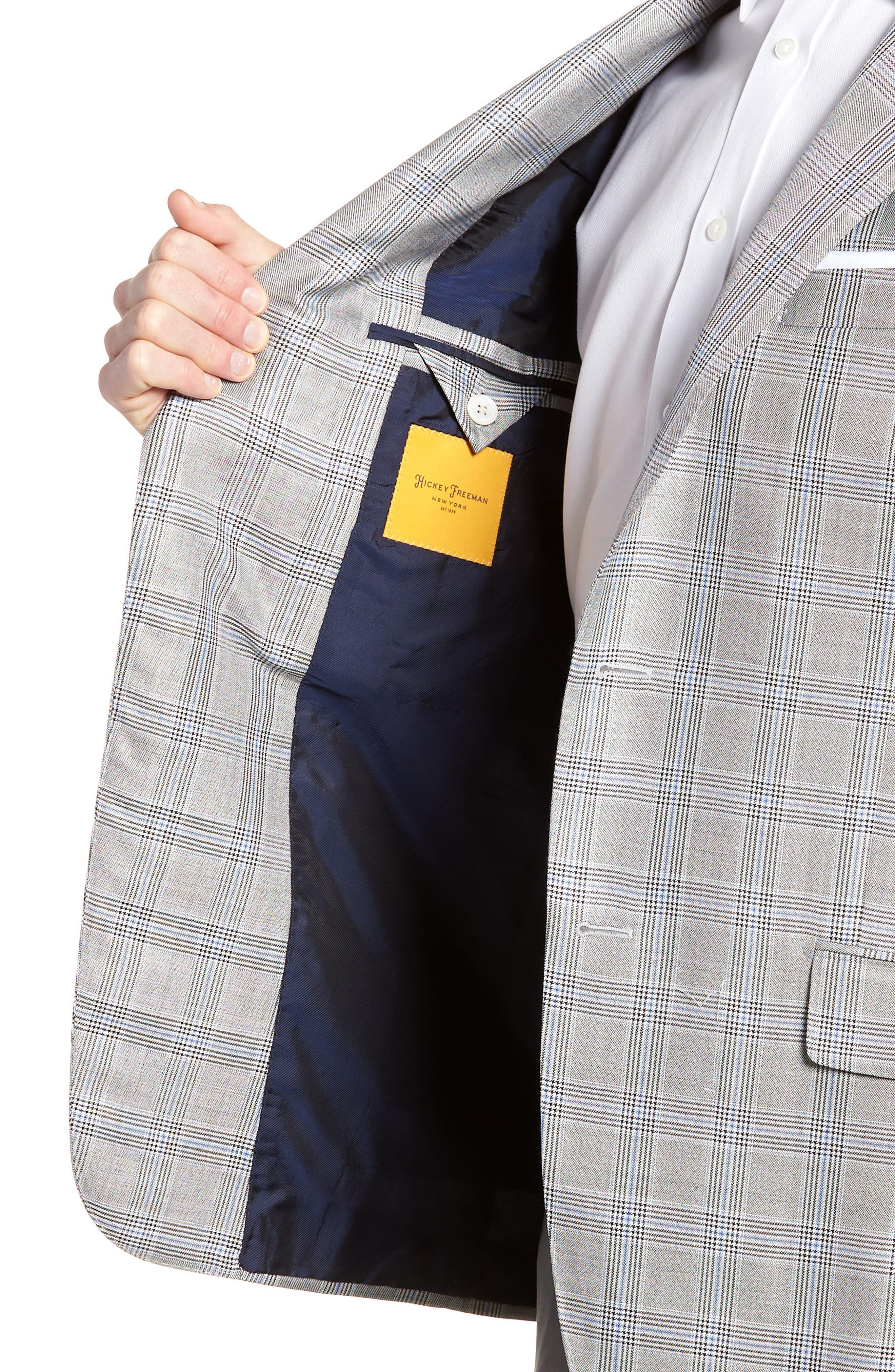 Classic B Fit Plaid Silk & Wool Sport Coat,                             Alternate thumbnail 4, color,                             001