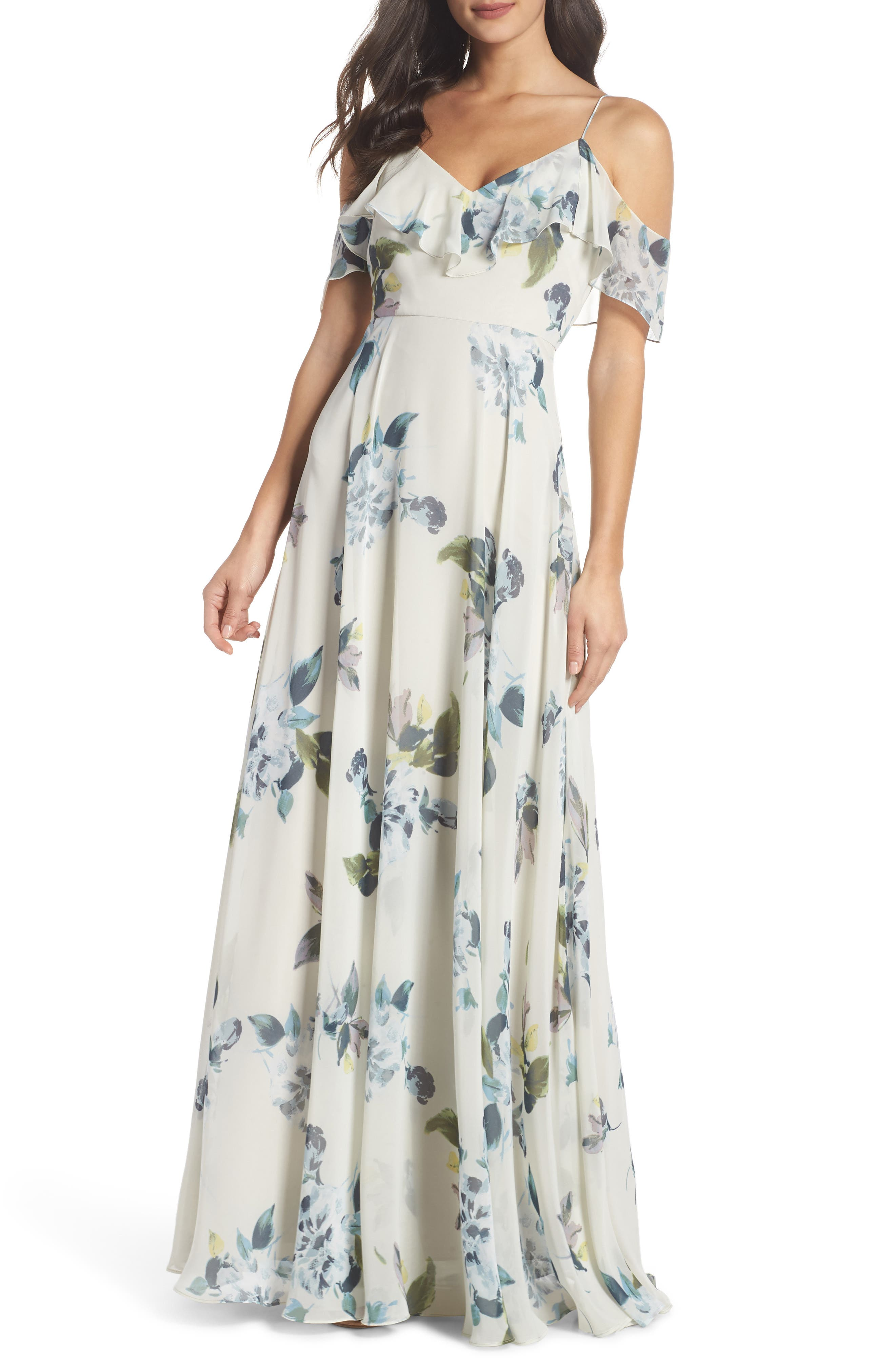 Jenny Yoo Mila Cold Shoulder Gown, Blue