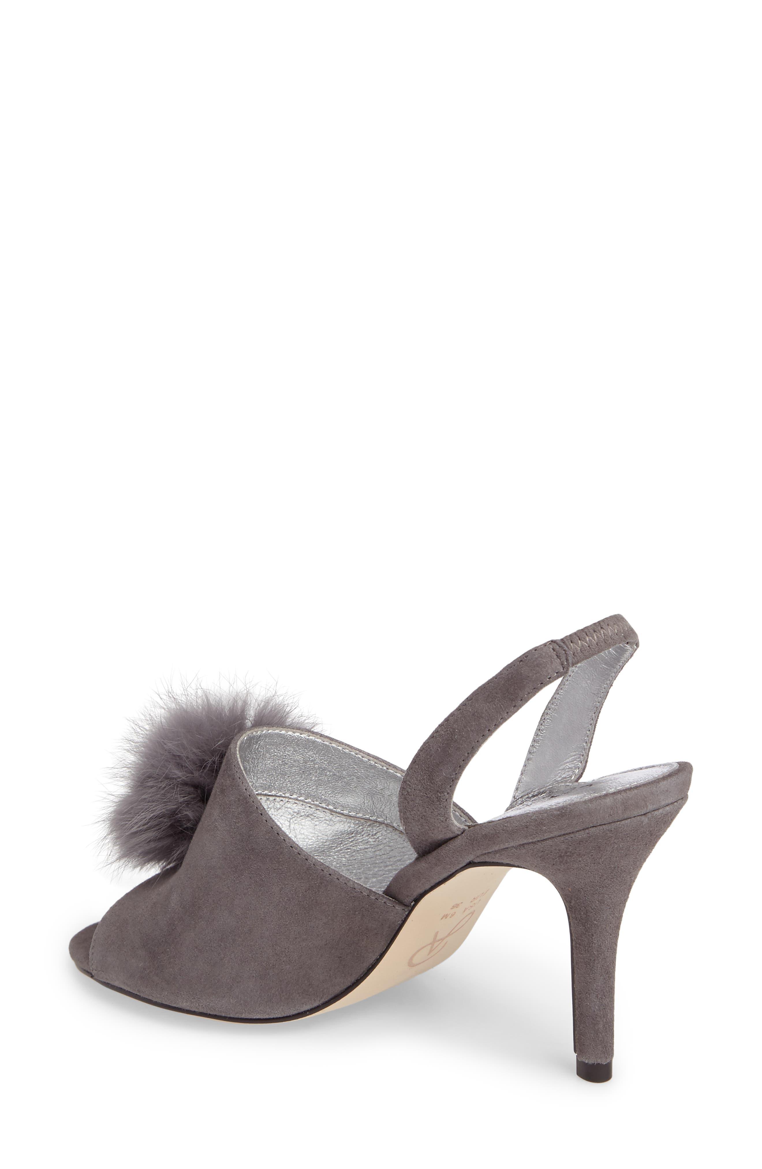 Alecia Genuine Rabbit Fur Pompom Sandal,                             Alternate thumbnail 4, color,