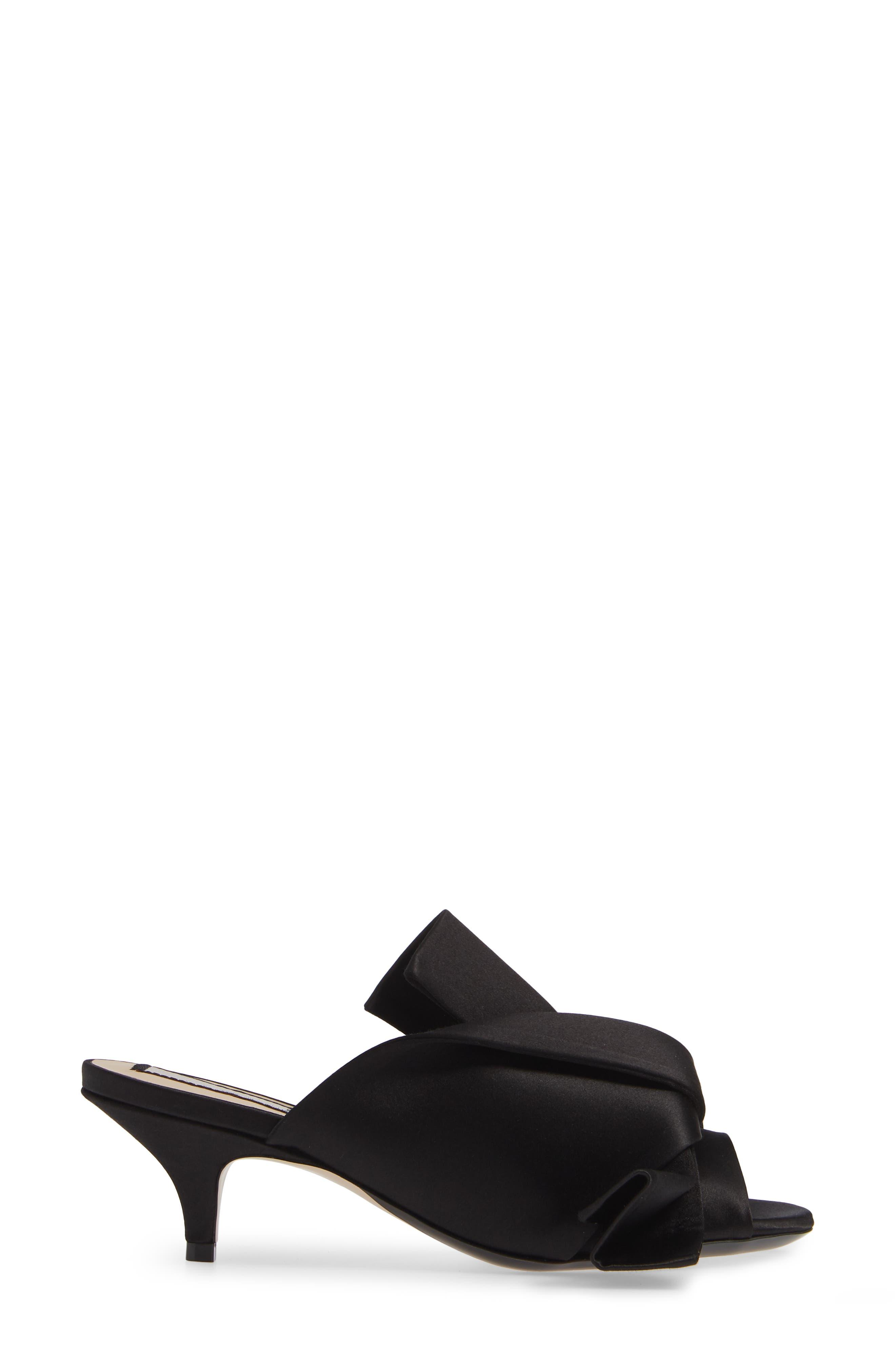 Bow Slide Sandal,                             Alternate thumbnail 3, color,                             BLACK