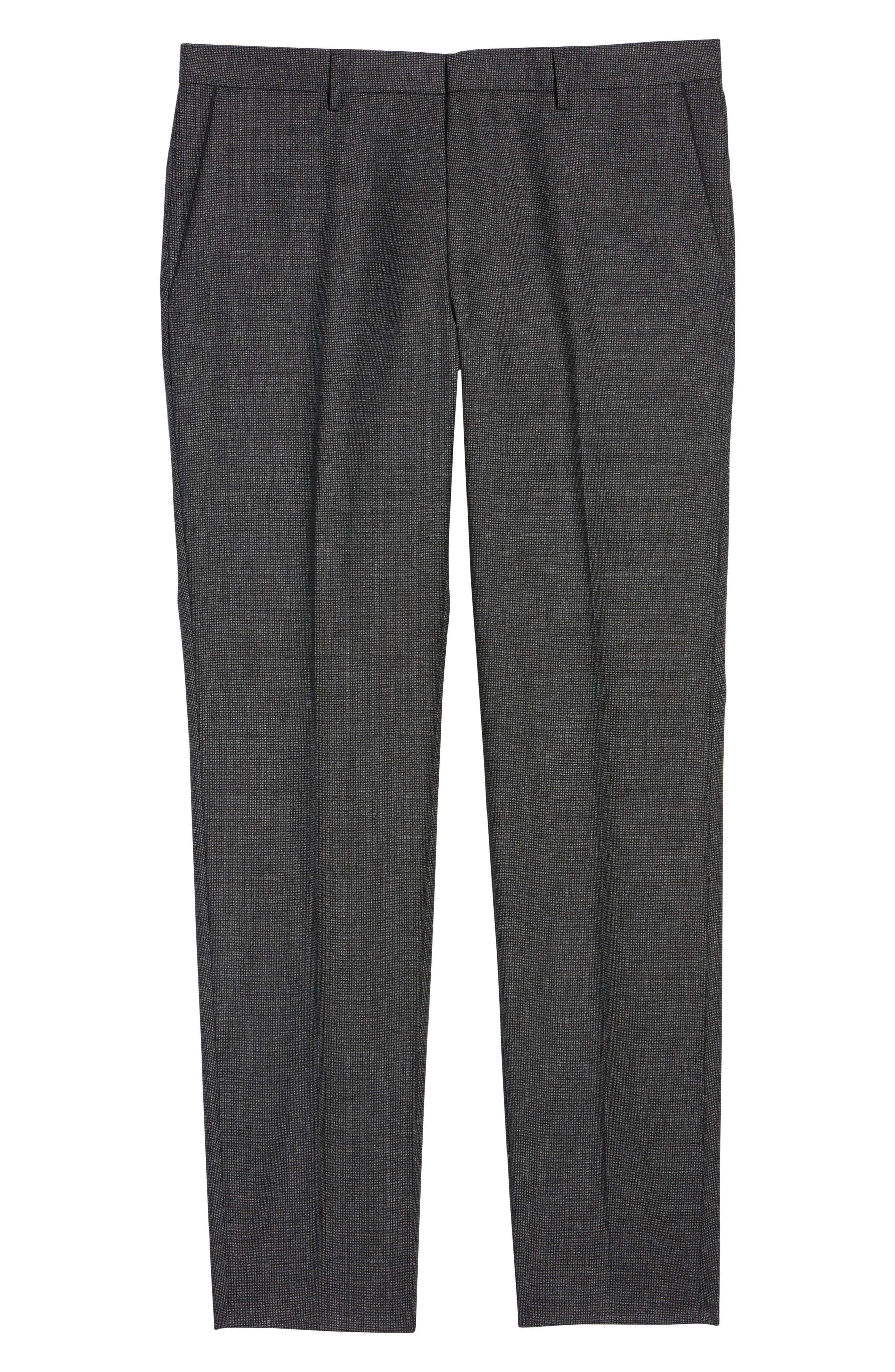 Giro Flat Front Solid Wool Trousers,                             Alternate thumbnail 6, color,                             OPEN GREEN