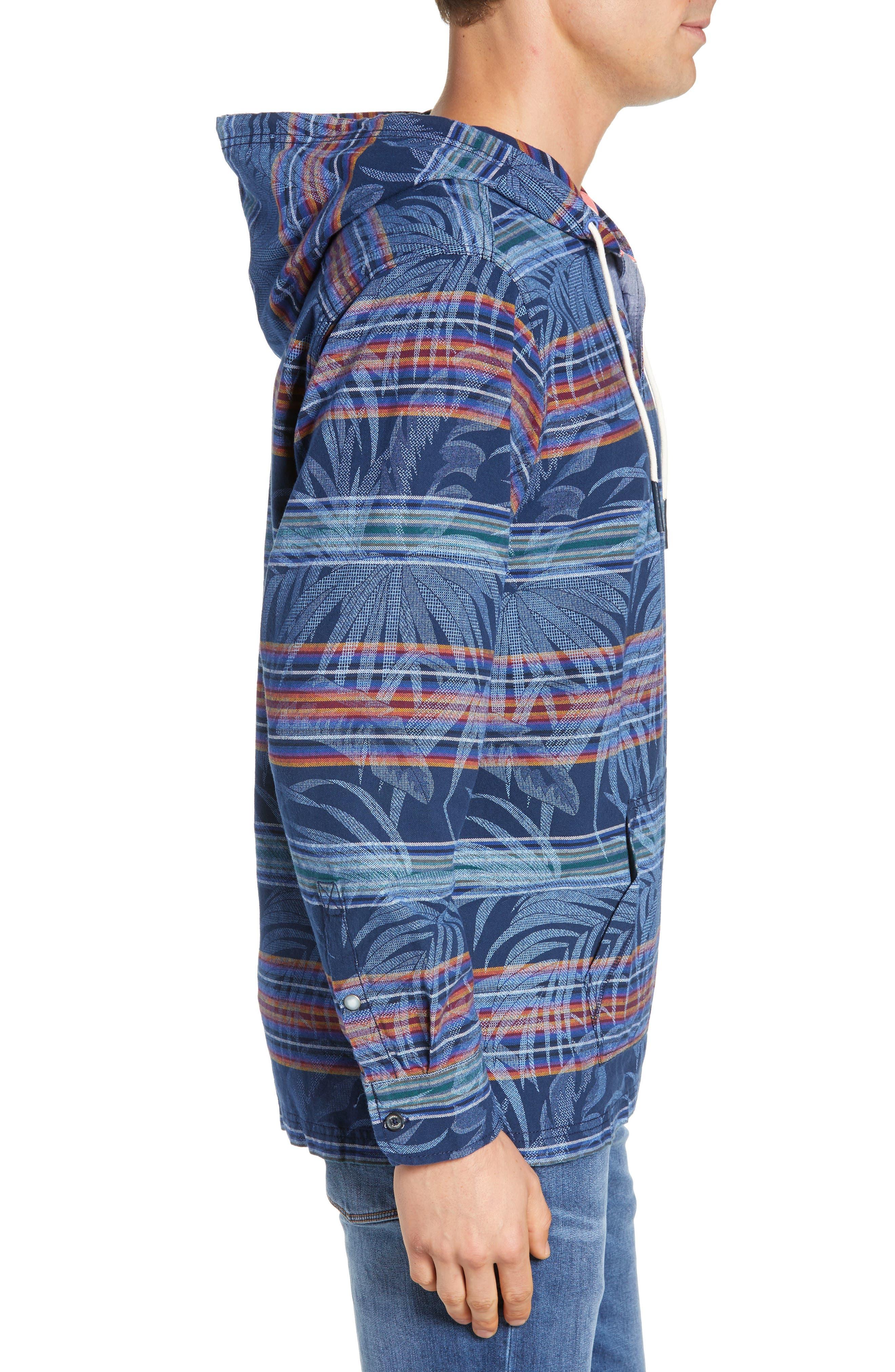 Island Serape Stripe Pullover Hoodie,                             Alternate thumbnail 3, color,                             OCEAN DEEP