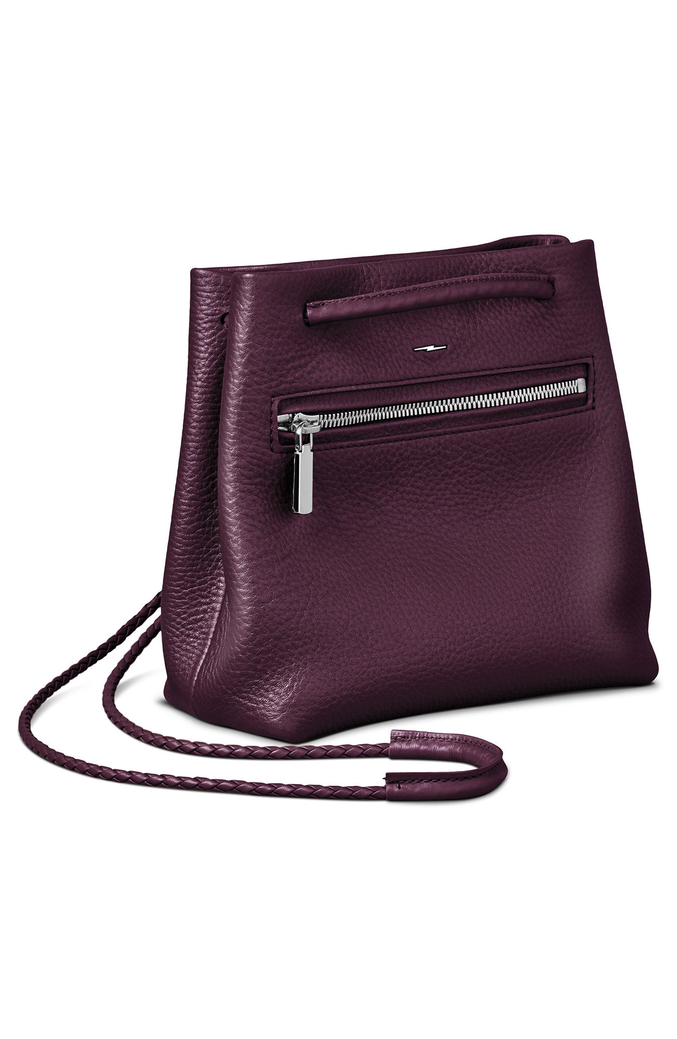 Mini Pebbled Leather Drawstring Crossbody Bag,                             Alternate thumbnail 9, color,