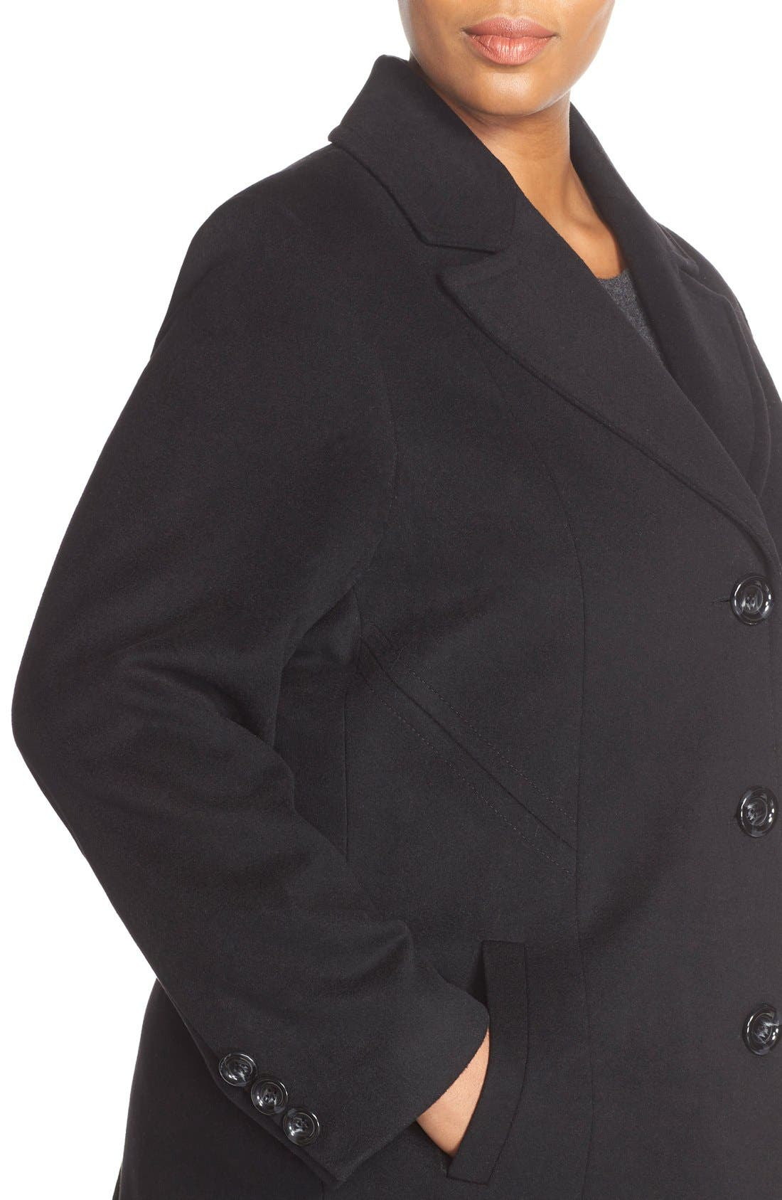 Notch Collar Wool Blend Coat,                             Alternate thumbnail 5, color,                             BLACK